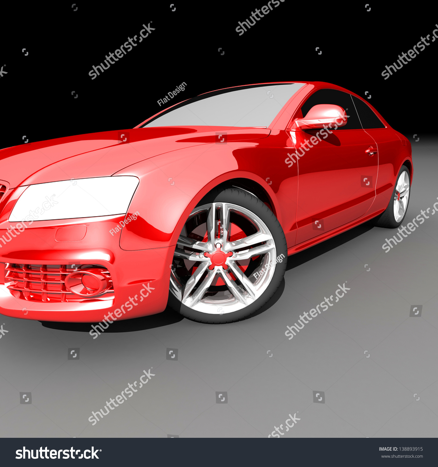car red color on a dark background. with shiny paint and lights on
