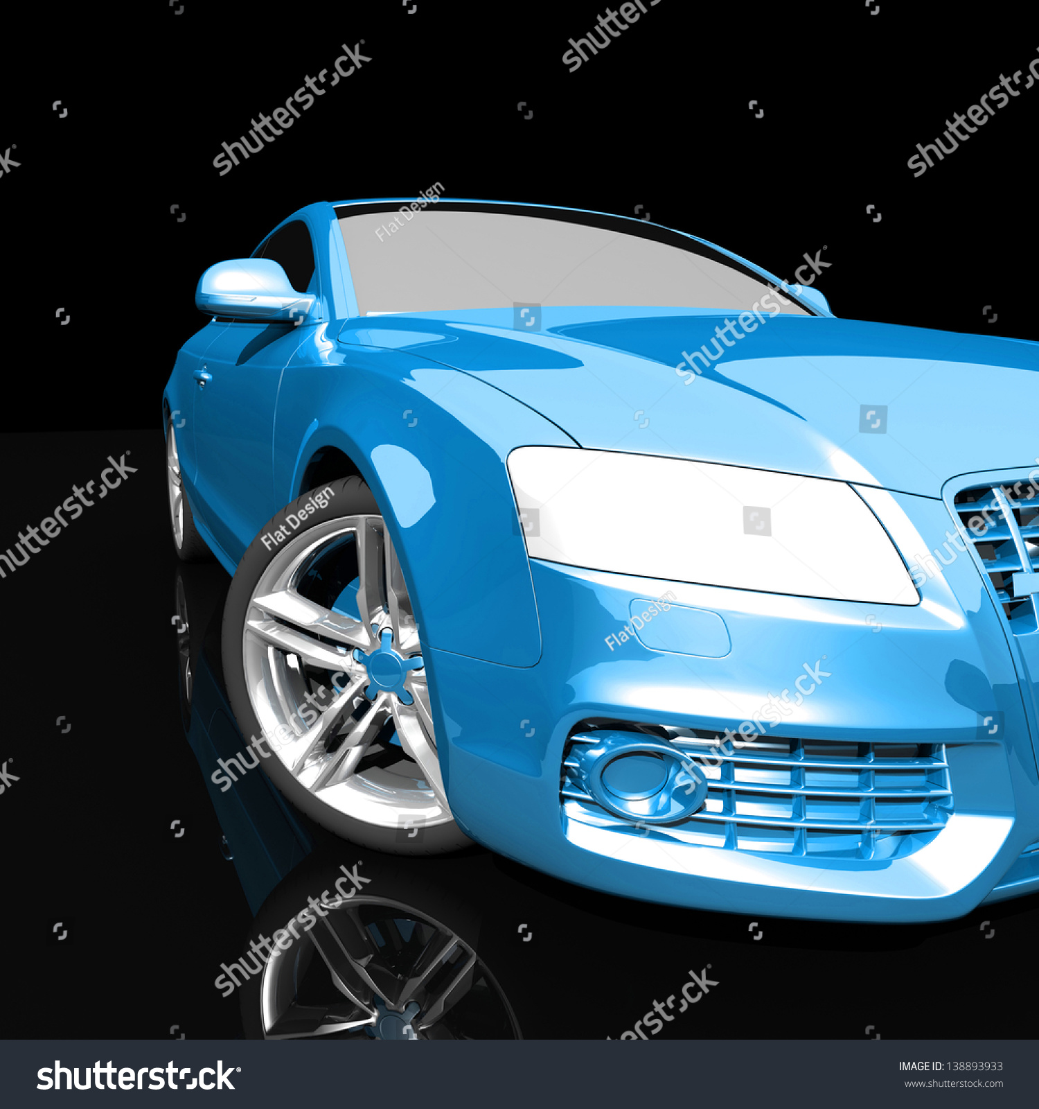 car blue color on a dark background. with shiny paint and lights