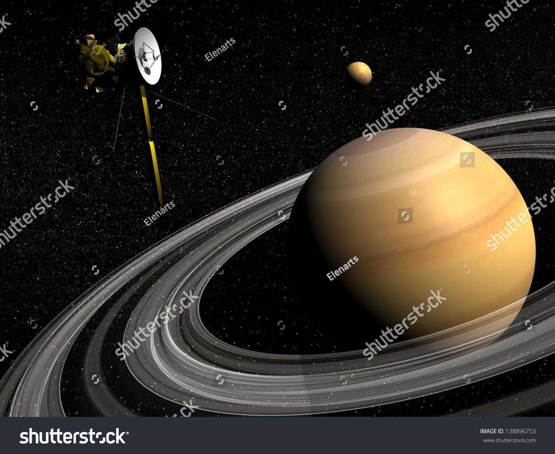 Cassini Spacecraft Near Saturn And Titan Satellite In The ...