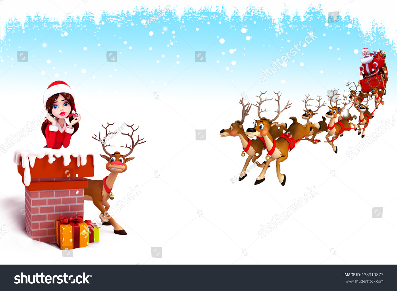 Santa Girl Is Coming Out Of Chimney Stock Photo 138919877 ...