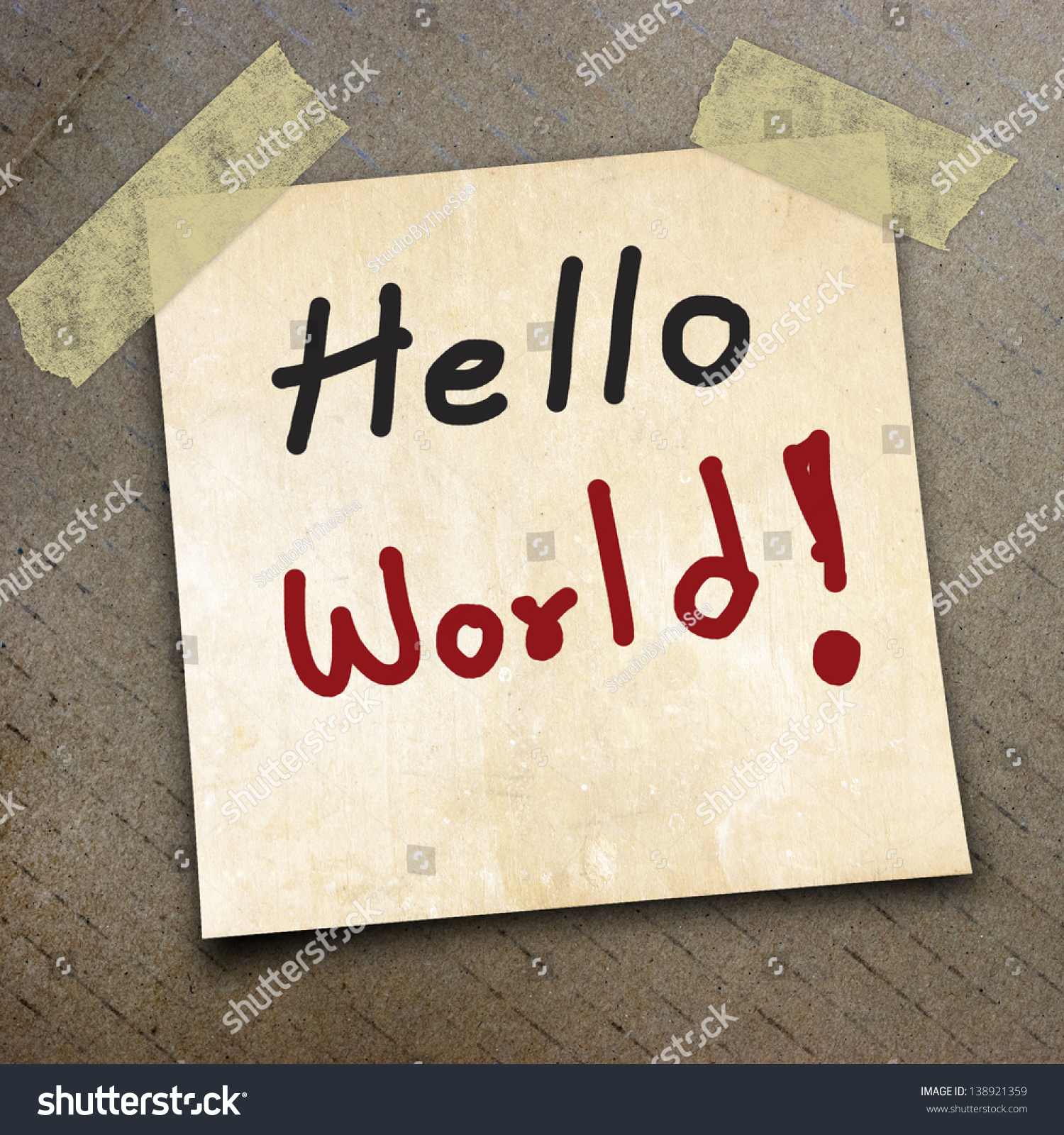 Wallpaper Helloworld: Text Hello World Packing Paper Box Stock Photo 138921359