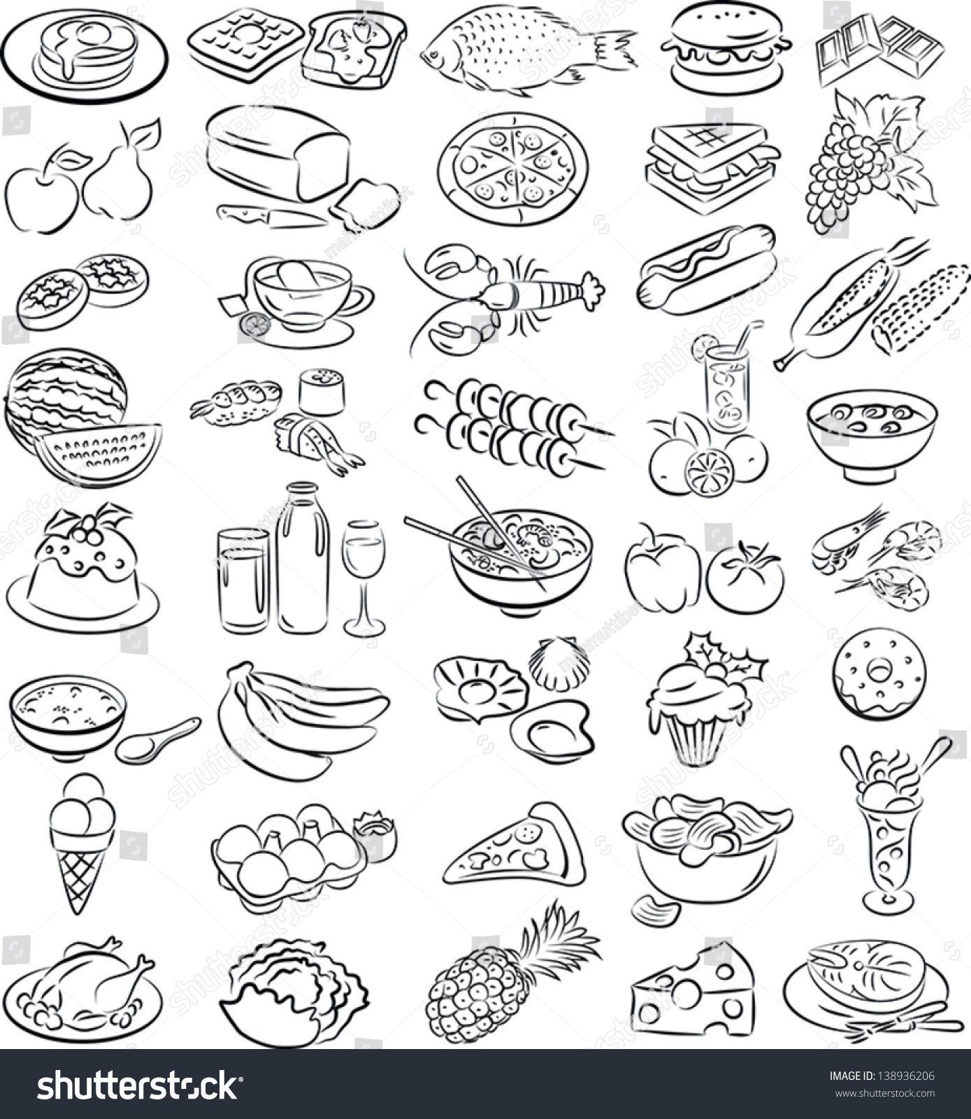 Line Art Food : Vector illustration food collection line art stock