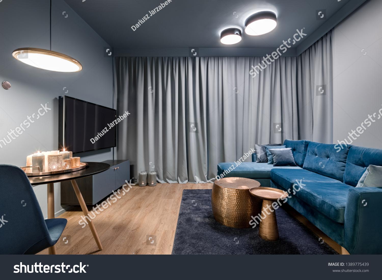 Picture of: Elegant Living Room Big Blue Sofa Stock Photo Edit Now 1389775439