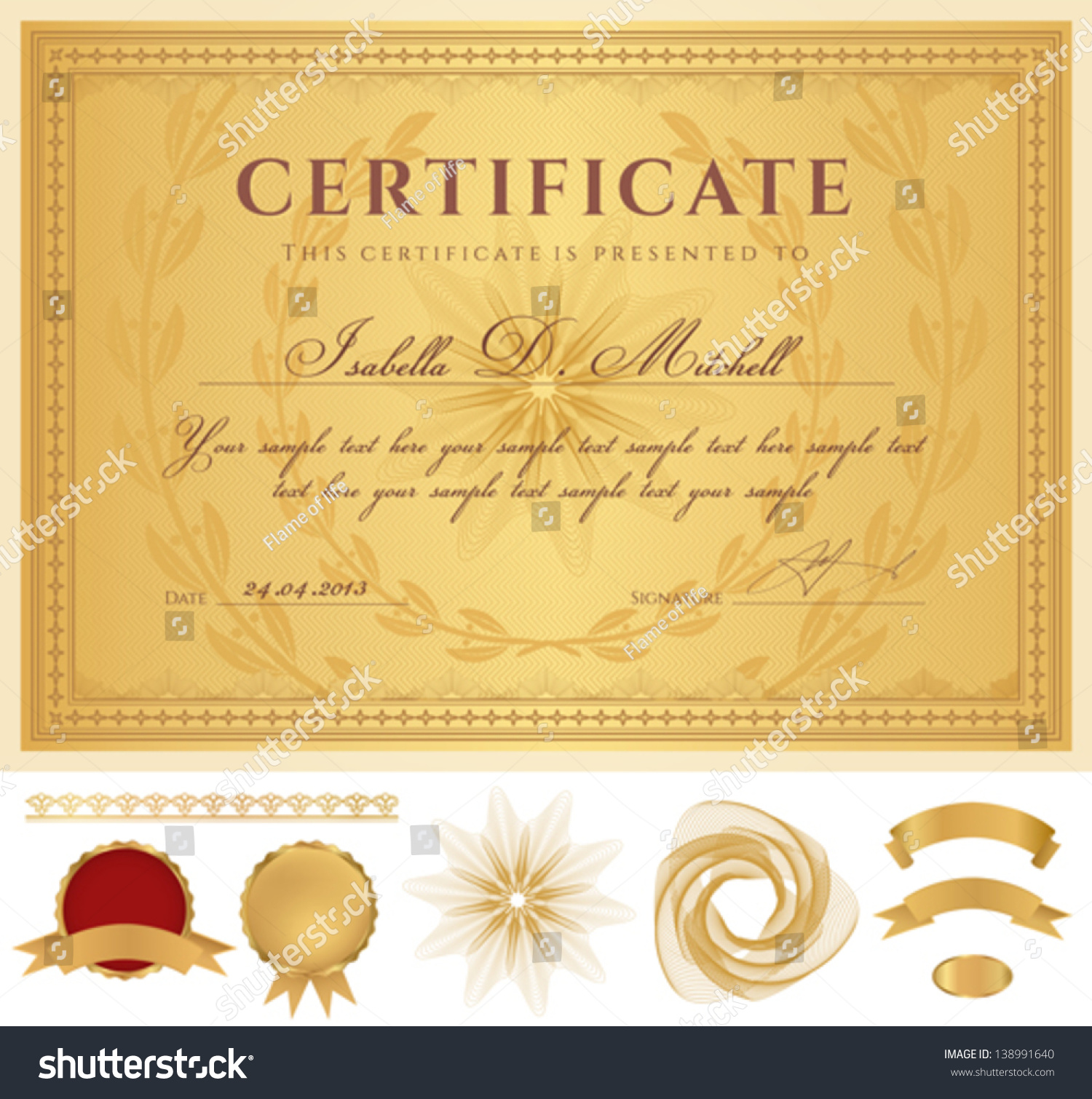 Horizontal Golden Certificate Completion Template Guilloche – Official Certificate Template