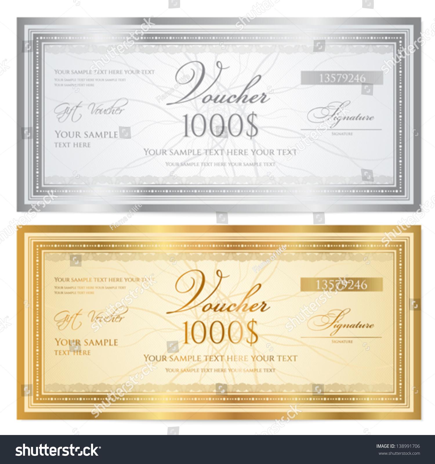 Voucher Template Guilloche Pattern Watermarks Border Vector – Money Voucher Template