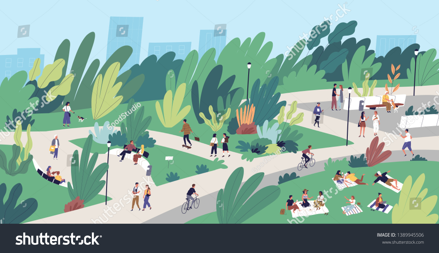 Landscape with people walking, playing, riding bicycle at city park. Urban recreation area with men and women performing leisure activities outdoors. Flat cartoon colorful vector illustration. #1389945506