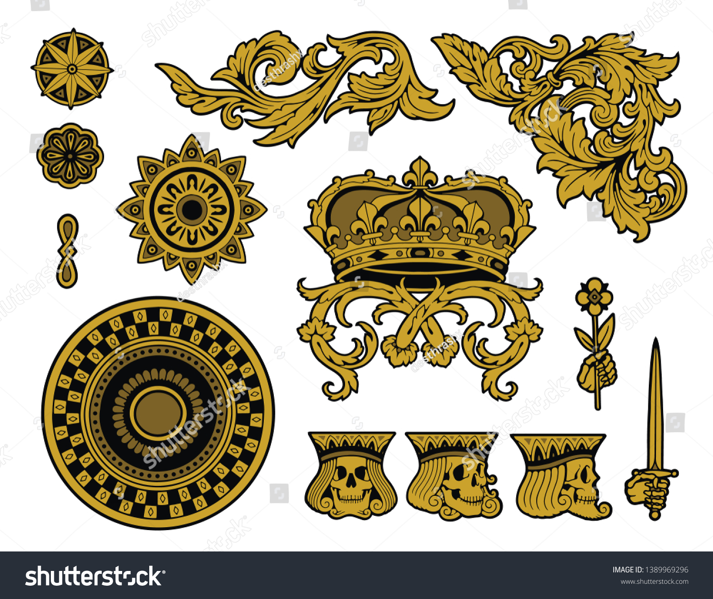ornate regal flourish elements pack stock vector (royalty free) 1389969296  shutterstock
