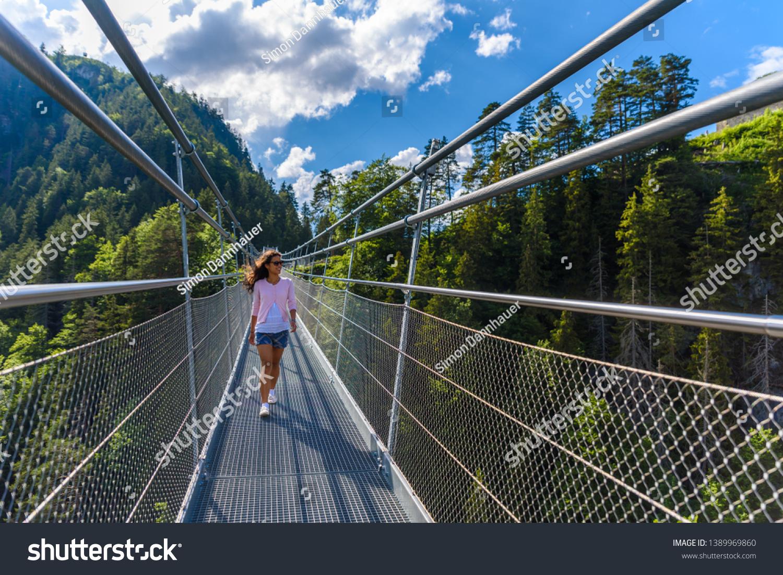 Suspension Bridge Reutte Between Two Hills Stock Photo Edit Now ...
