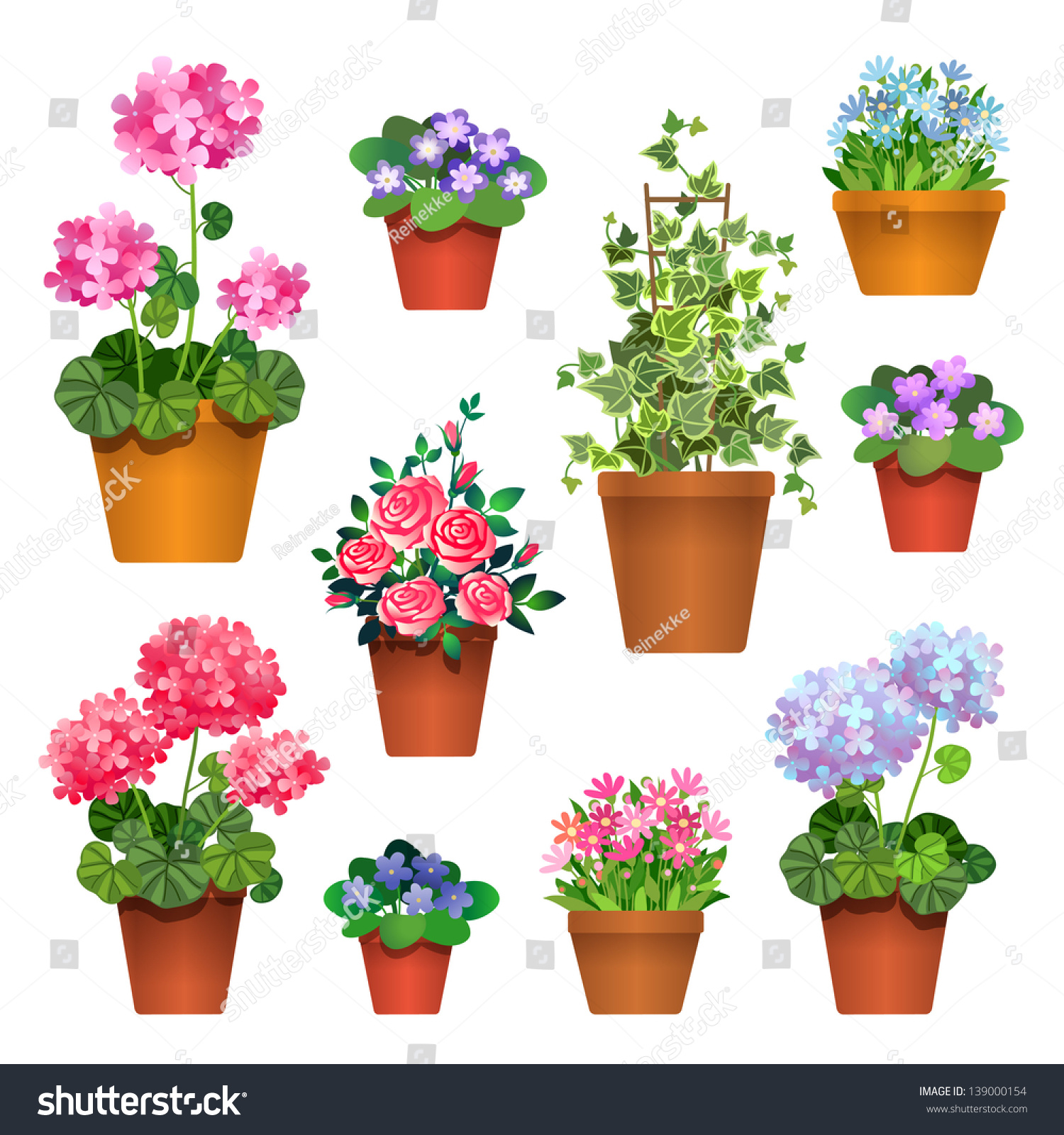 Flowers Pots Vector Collection Stock Vector