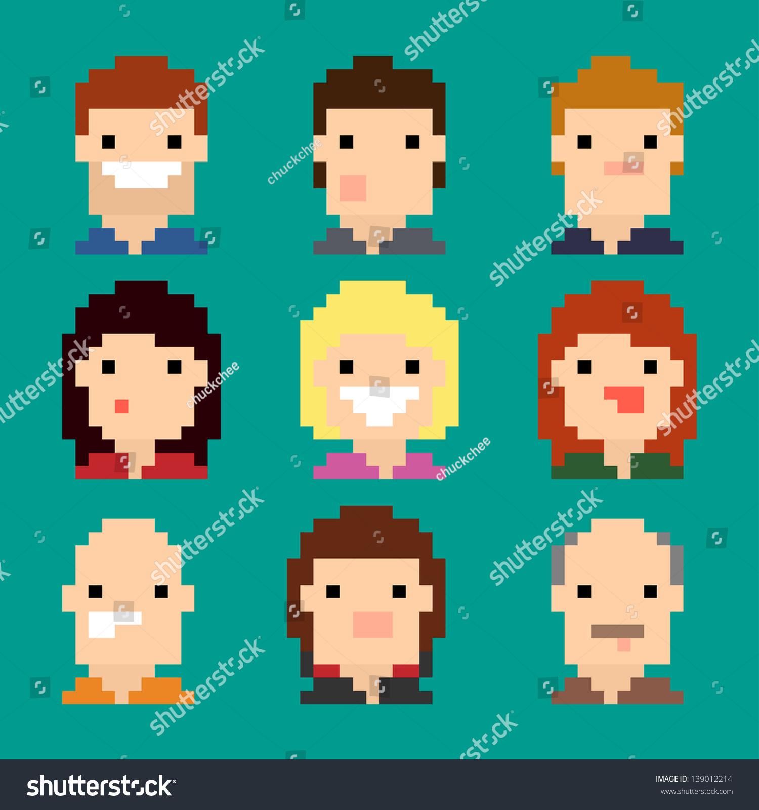 Pixel Faces Stock Vector Illustration 139012214 : Shutterstock