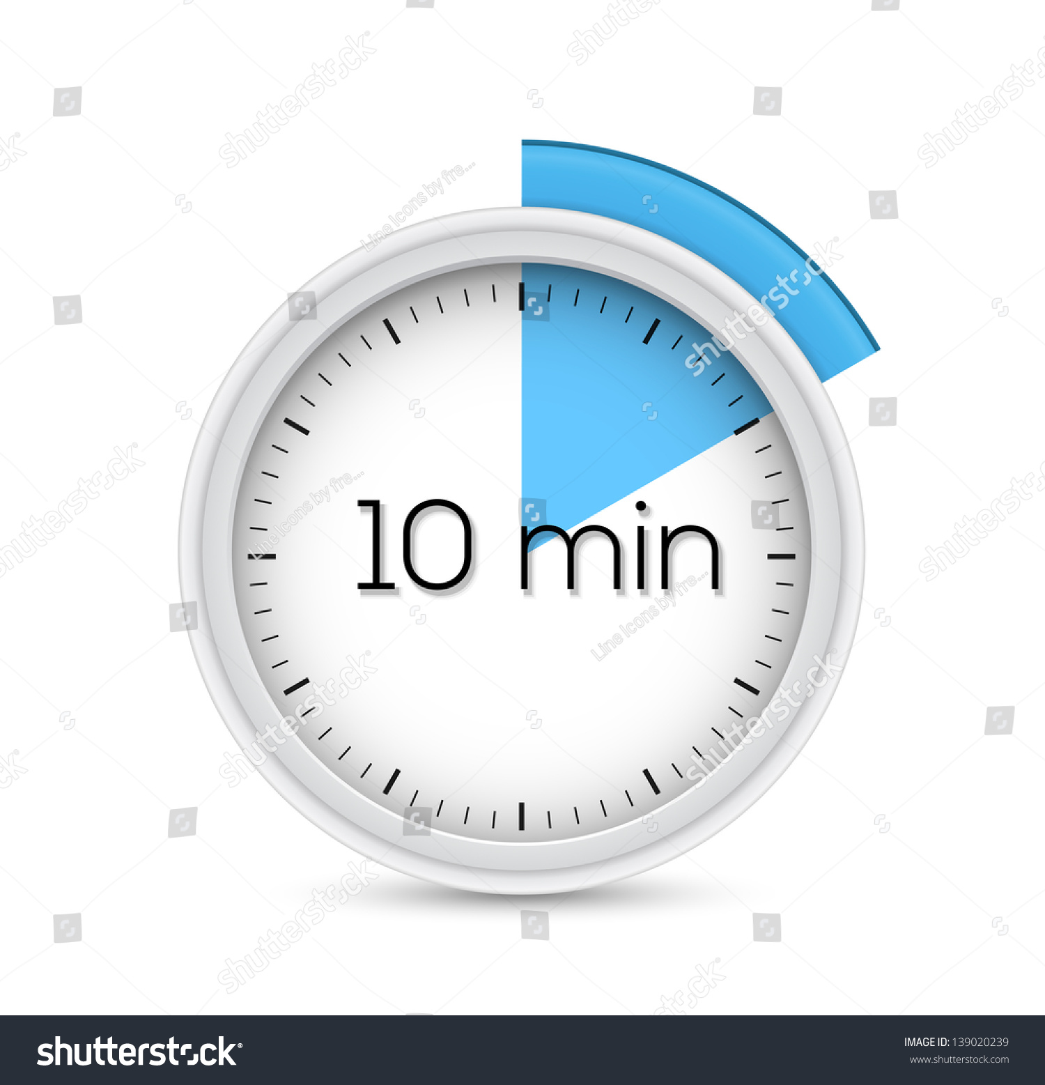 Ten Minutes Stopwatch Timer Vector Illustration Stock Vector ...