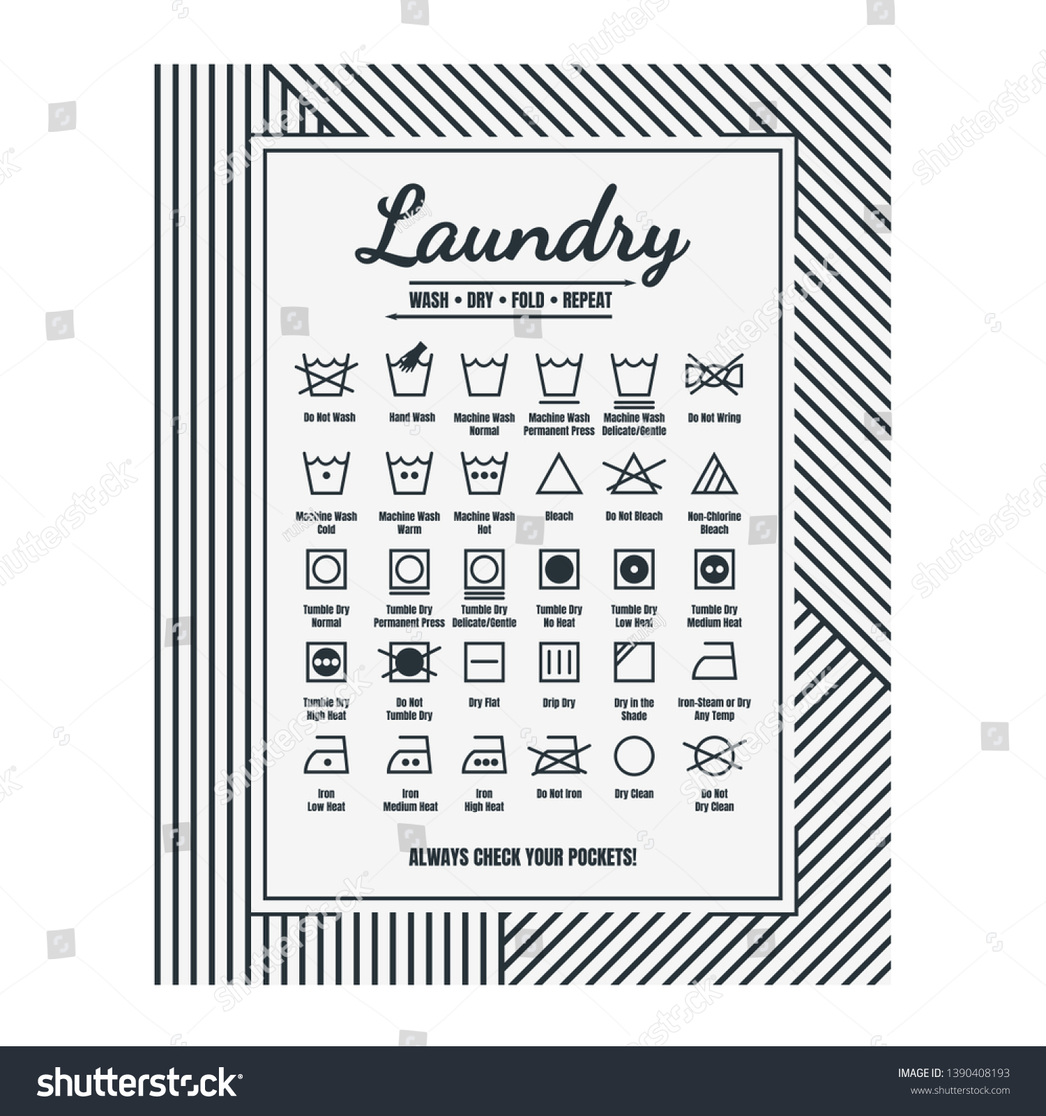 Laundry Room Decor Laundry Care Symbols Royalty Free Stock