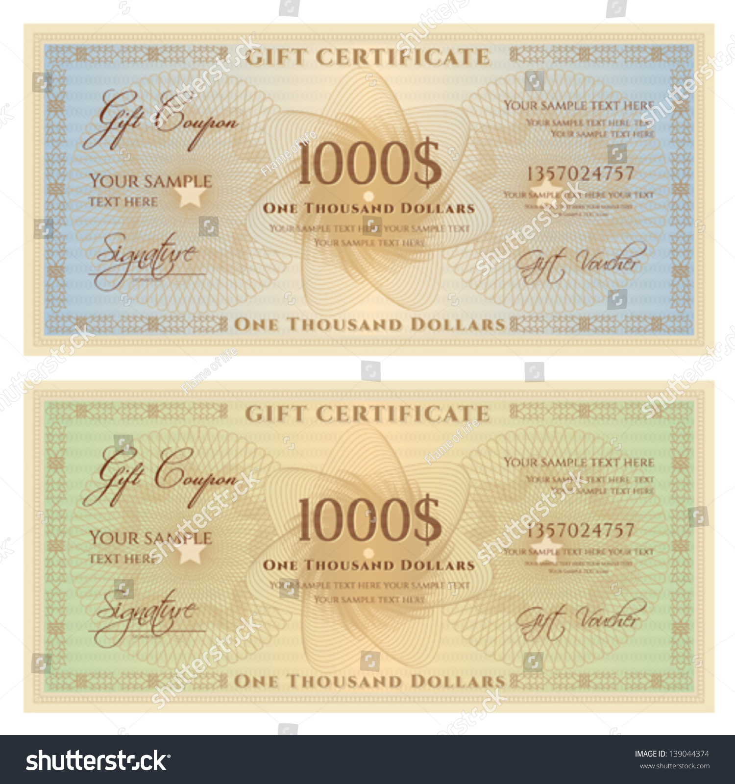 Royalty Free Gift Certificate Voucher Template 139044374 Stock