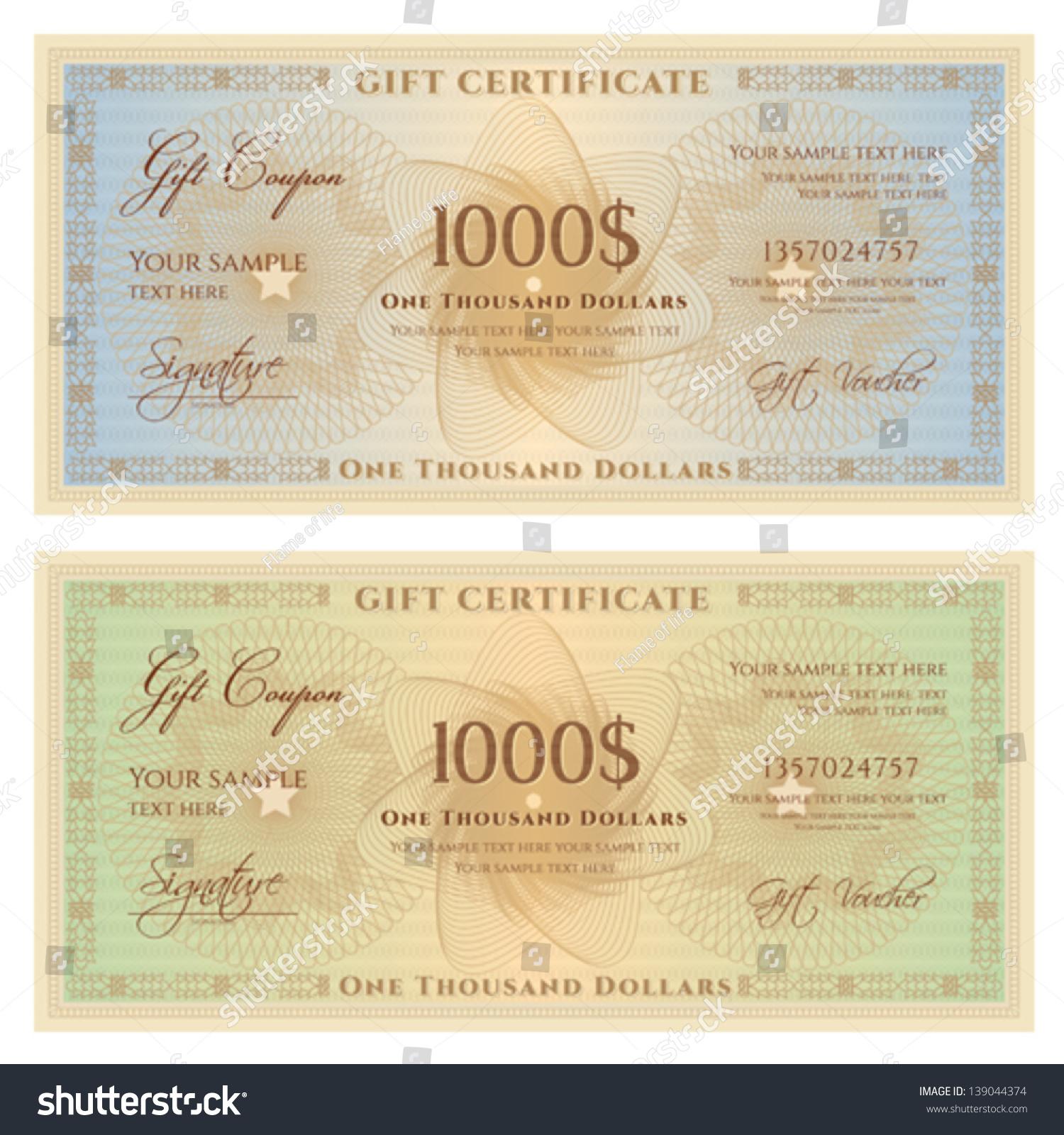 Gift Certificate Voucher Template Guilloche Pattern Vector – Money Voucher Template