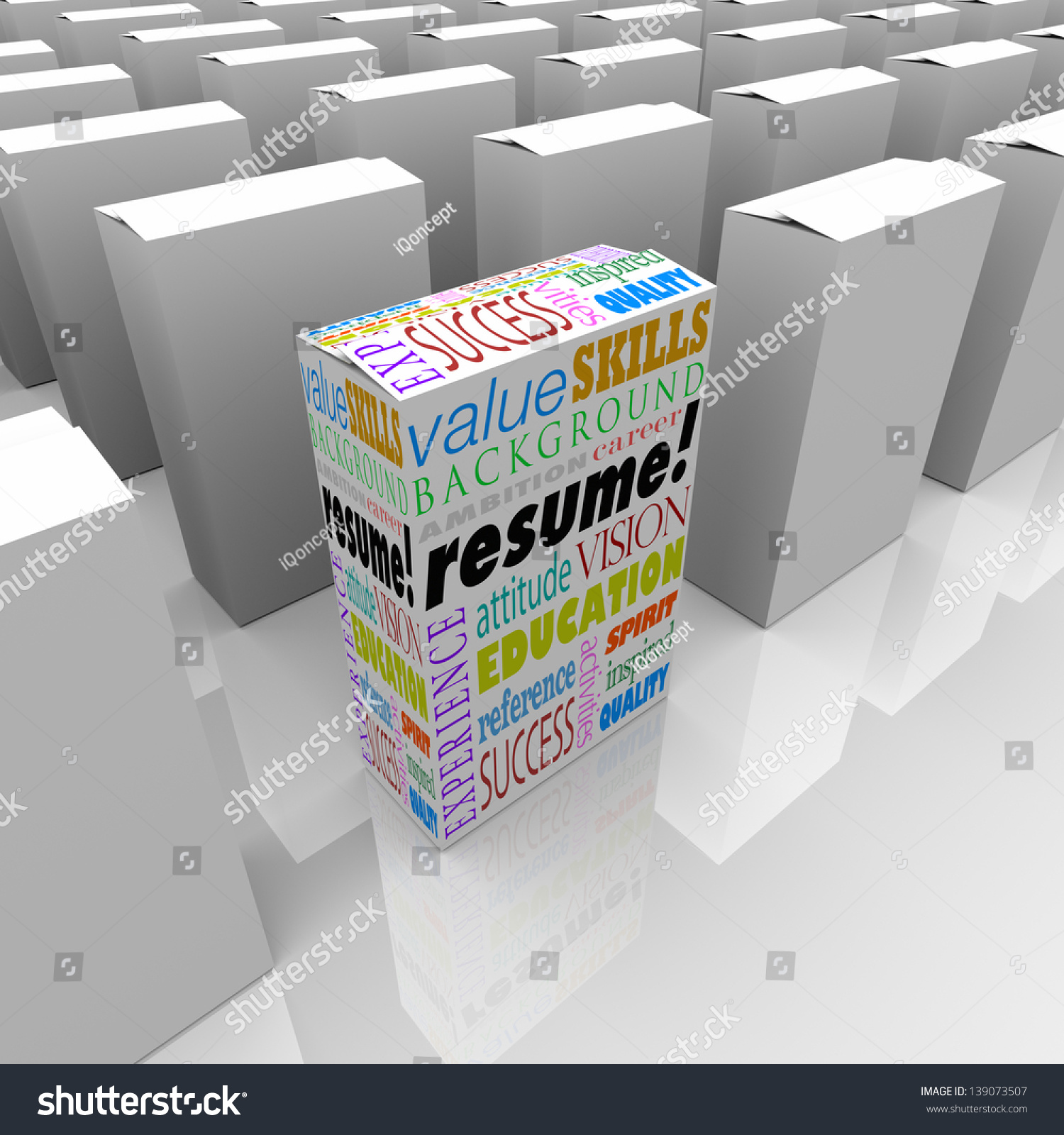 the word resume and job or interview related terms such as skills save to a lightbox