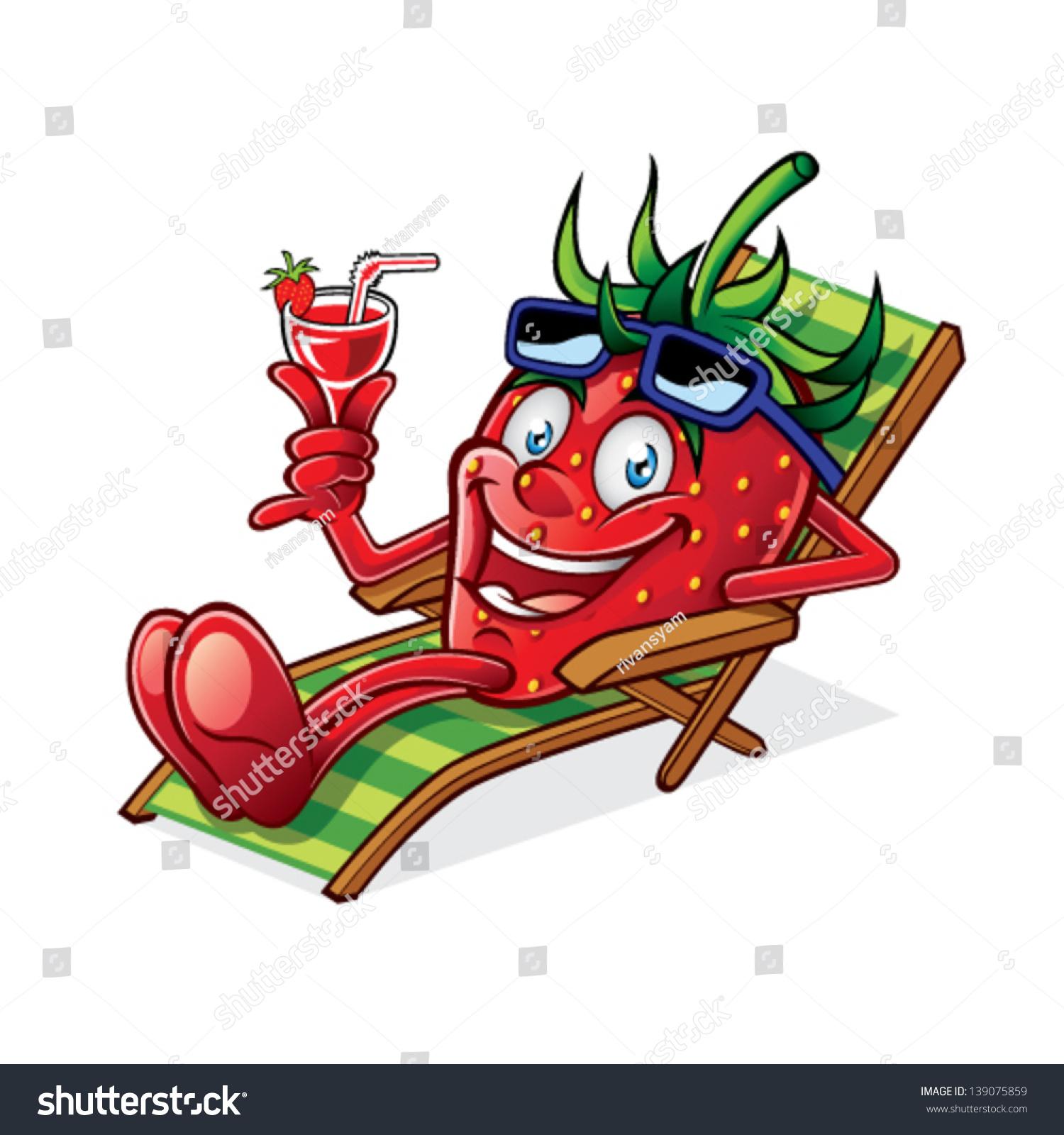 Cartoon Berry Relaxing On Beach Chair Stock Vector