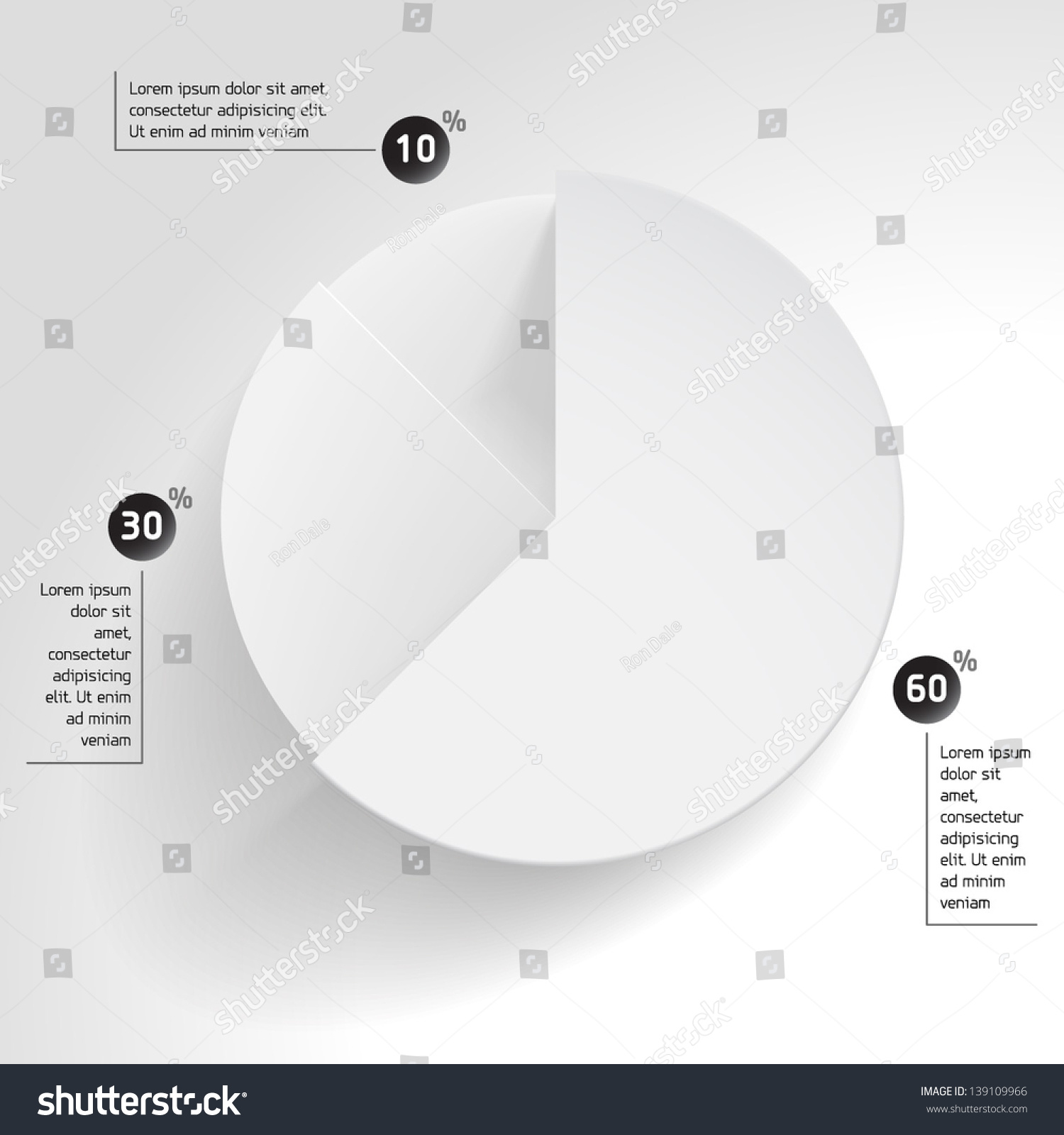 3 d business pie chart wheel chart stock vector (royalty free