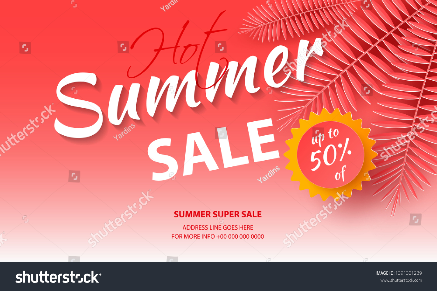 Seasonal Sale Background Banners Coral Palm Stock Vector