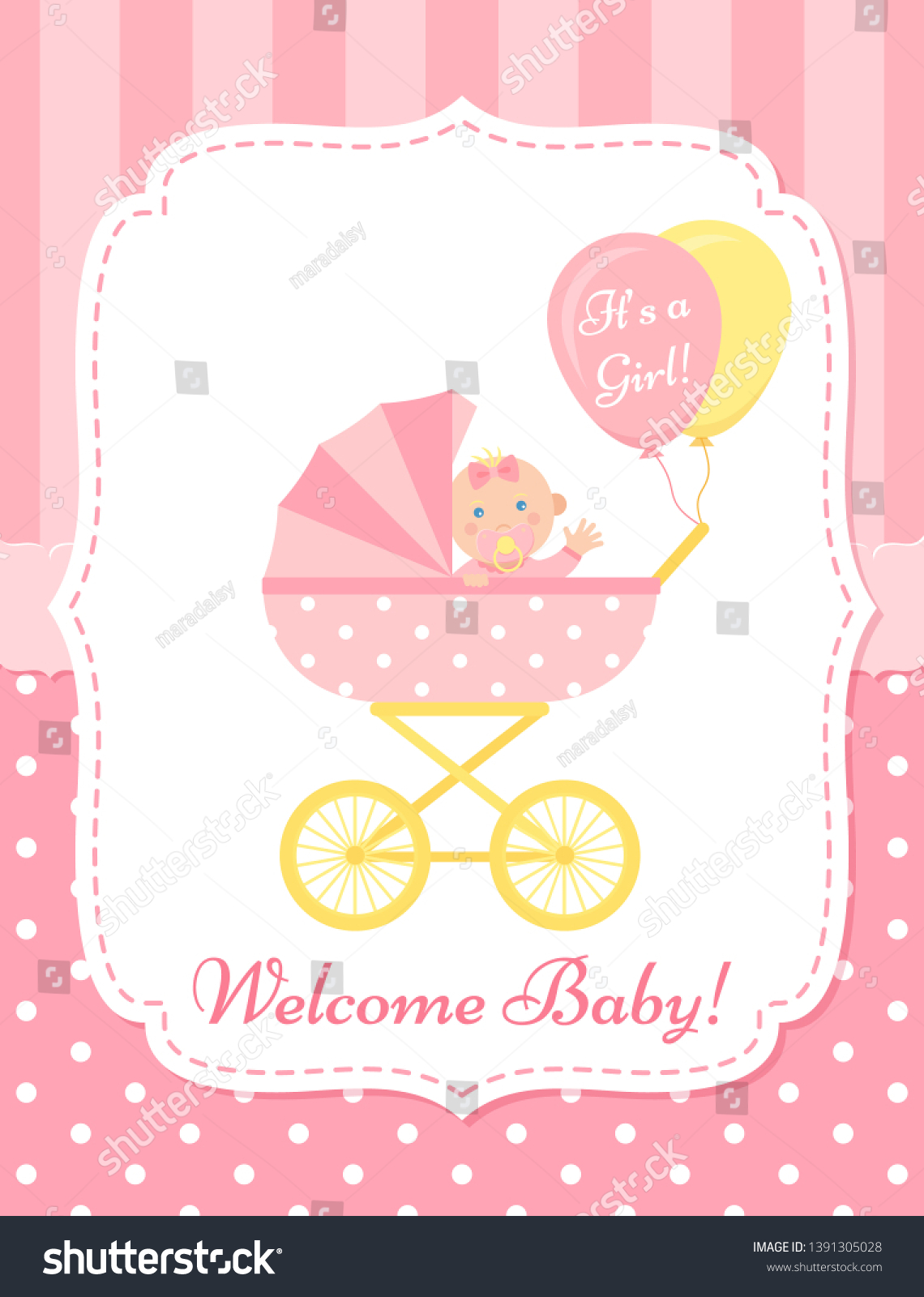 Baby Girl Card Vector Baby Shower Stock Vector Royalty Free 1391305028