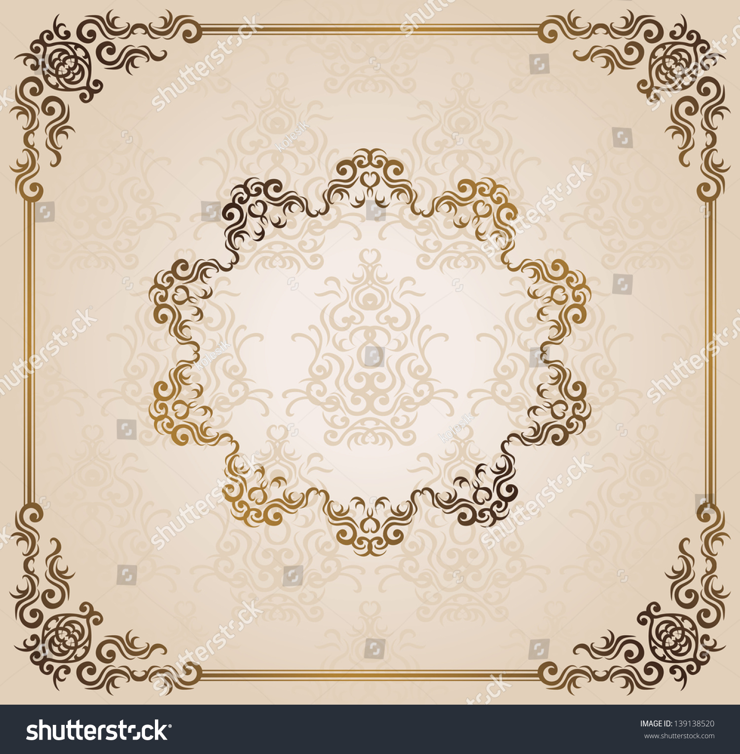 Vintage Damask Wallpaper Frame Can Be Stock Vector (Royalty Free ...