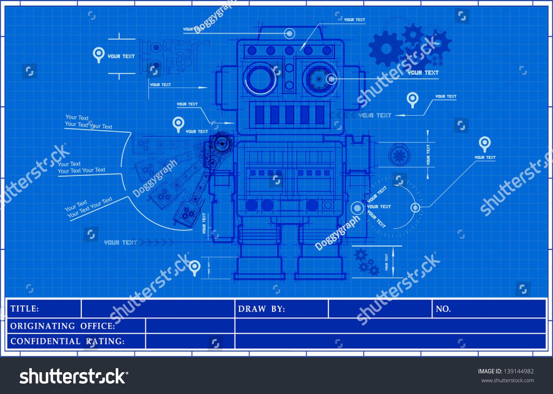 sketch classic robot blueprint of mechanic on a blueprint