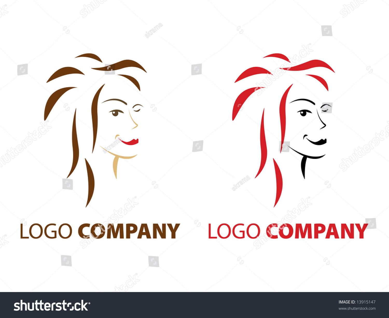 Hair cosmetics beauty salon company logo stock for Hair salon companies