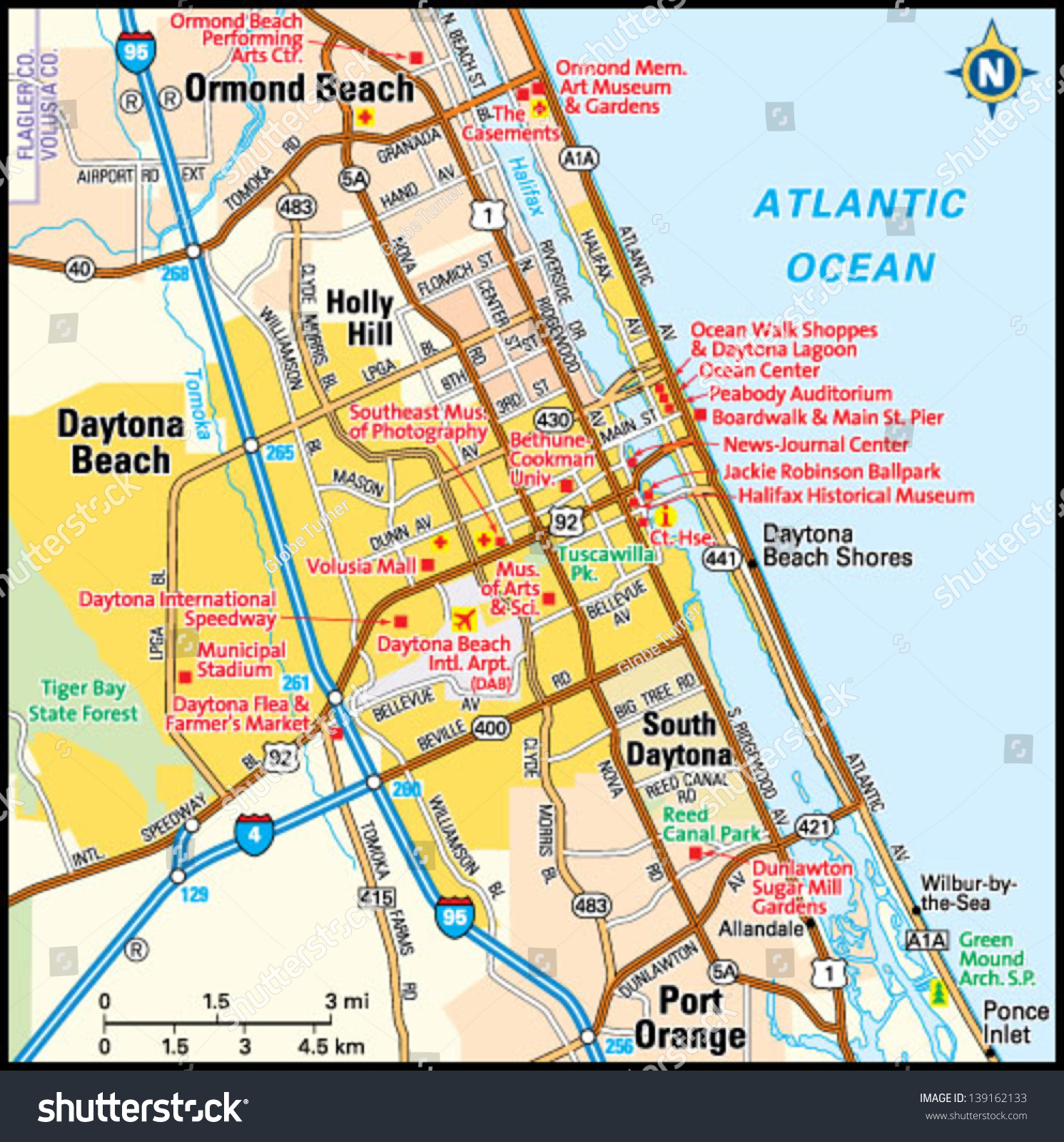 Daytona Beach Florida Area Map Stock Vector  Shutterstock - Florida map daytona area