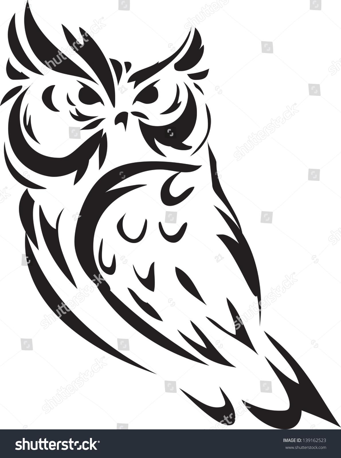 Owl Outline Illustration 139162523 Shutterstock