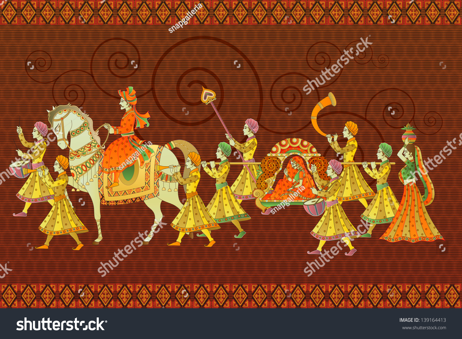 Easy Edit Vector Illustration Traditional Indian Stock Vector 139164413