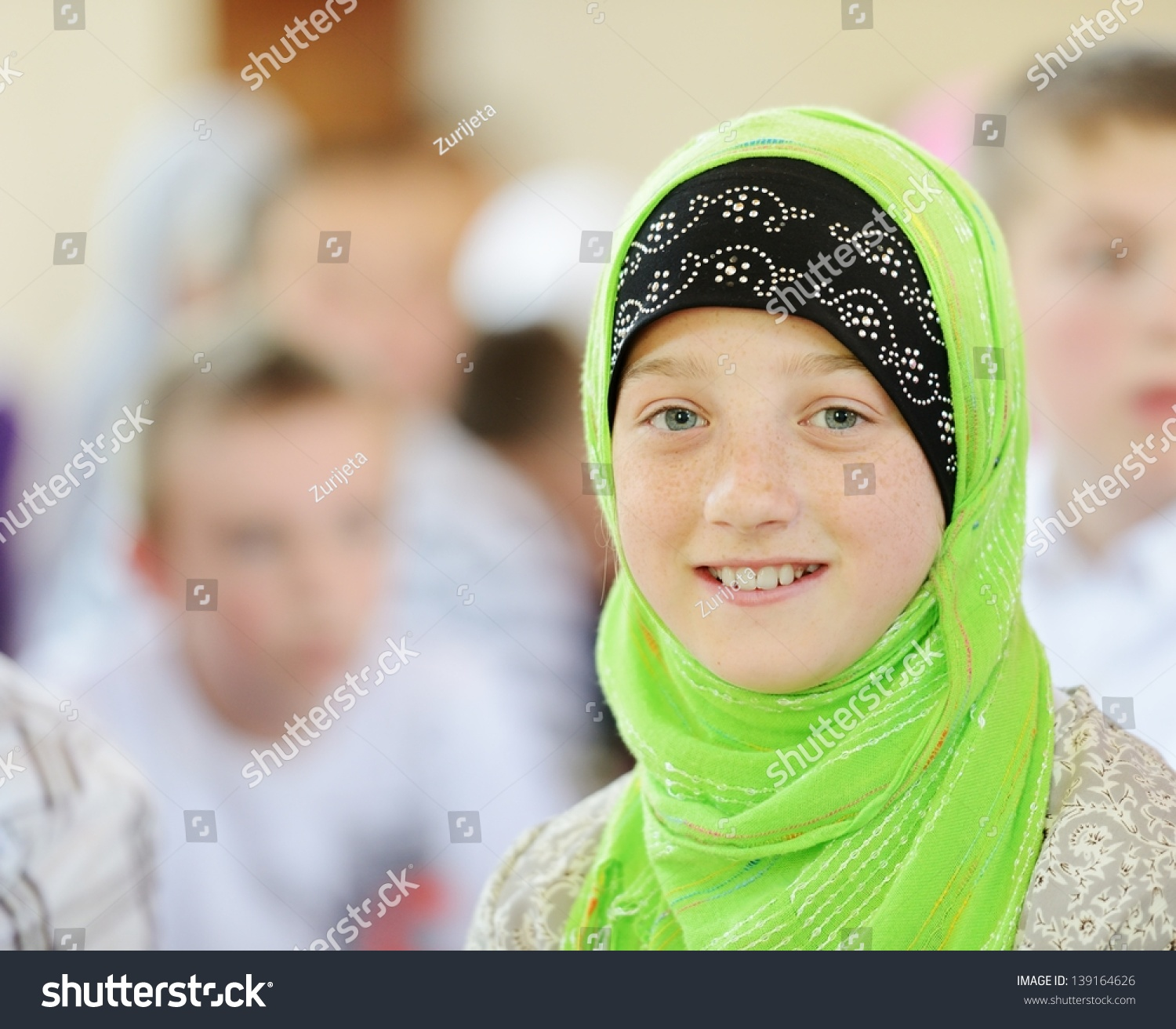 Muslim And Arabic Girls Learning Together In Group Stock