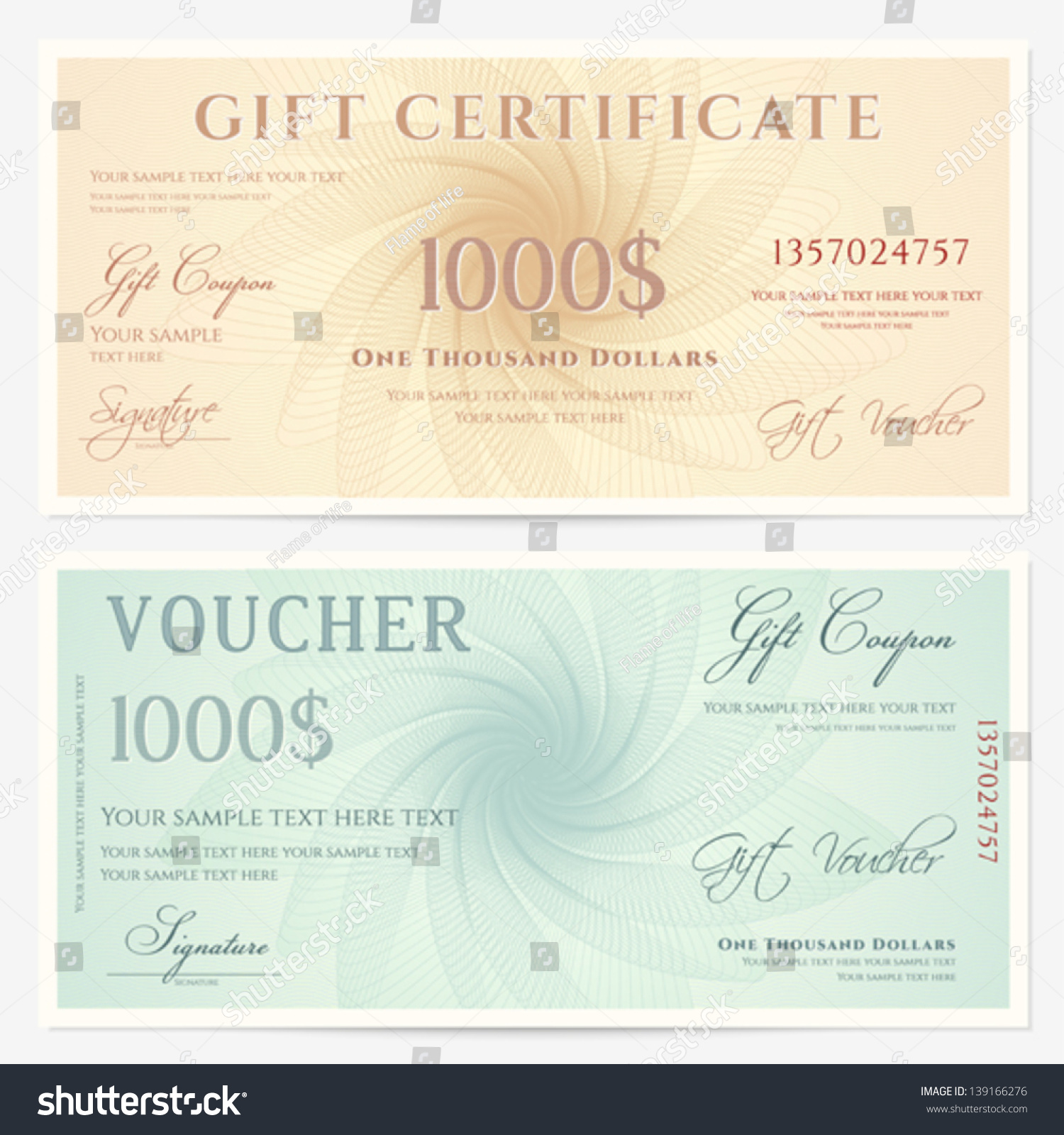 Gift certificate voucher template guilloche pattern stock for Cheque voucher template