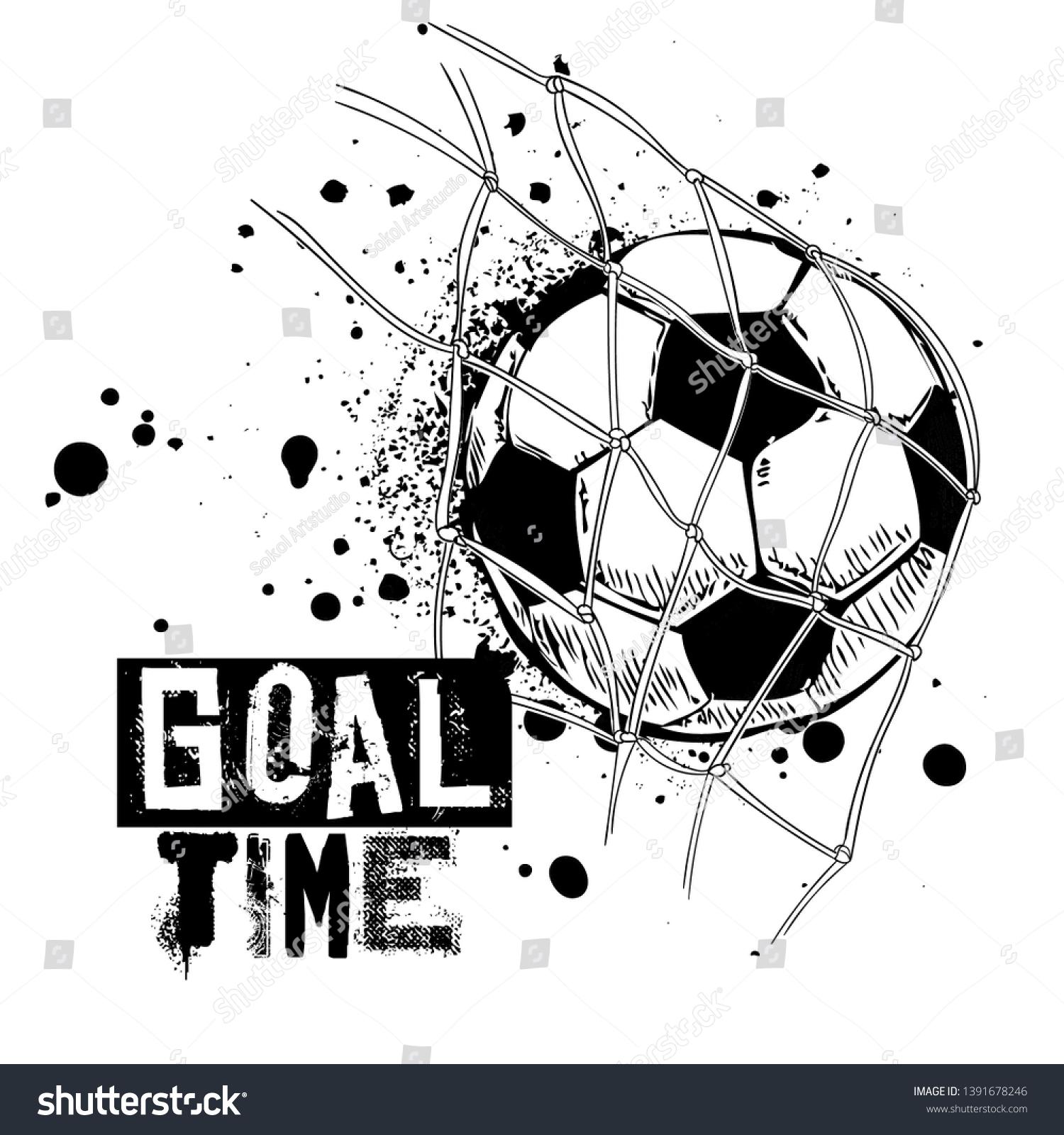 Black White Football Print Goal Ball Stock Vector Royalty Free 1391678246
