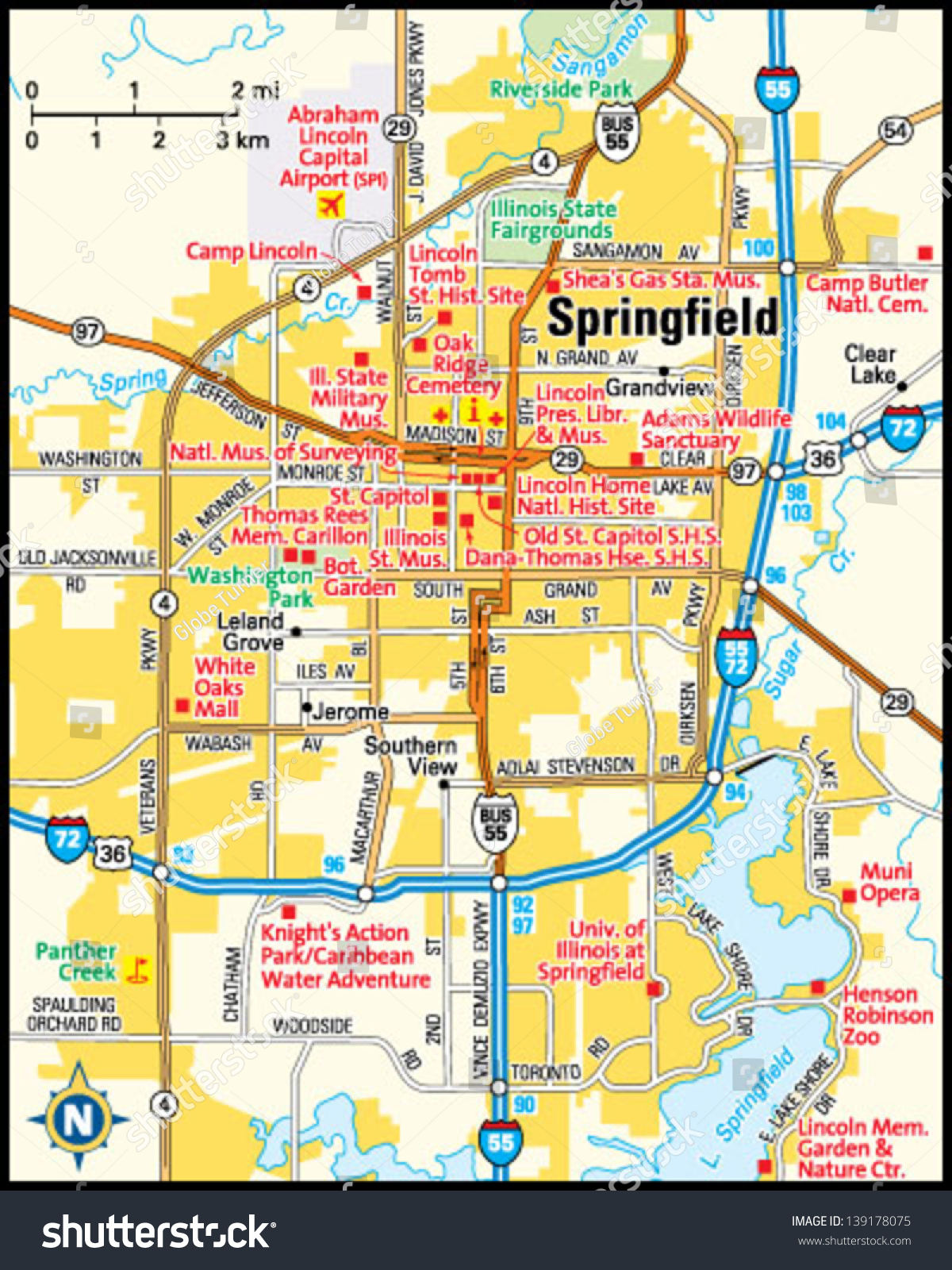 springfield illinois area map. springfield illinois area map stock vector   shutterstock
