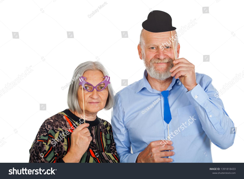 Elderly Couple Having Fun Photo Accessories Stock Photo Edit Now