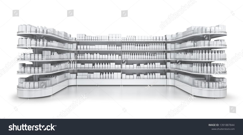 Shelves Gondola Rack Blank Goods Store Stock Illustration