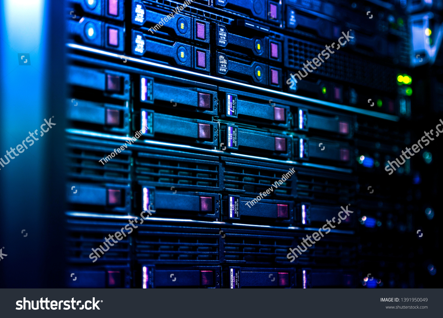 Close up server rack cluster in a data center selected focus, narrow depth field #1391950049
