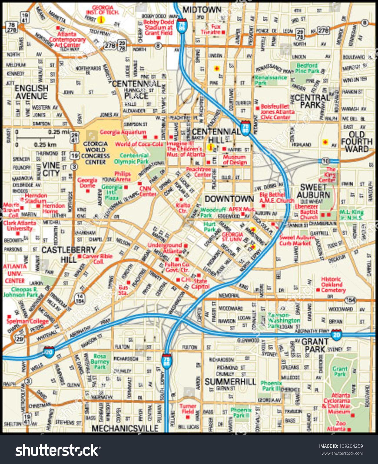 Atlanta Georgia Downtown Map Stock Vector  Shutterstock - Map of dallas georgia