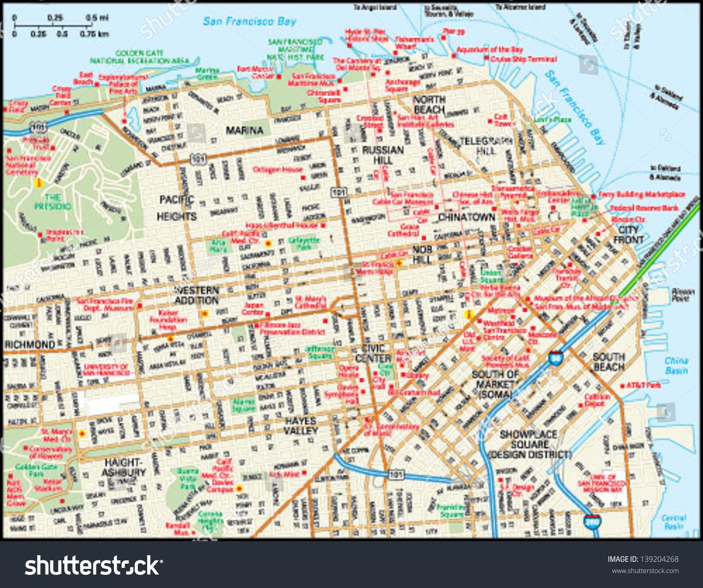 san francisco california downtown map stock vector