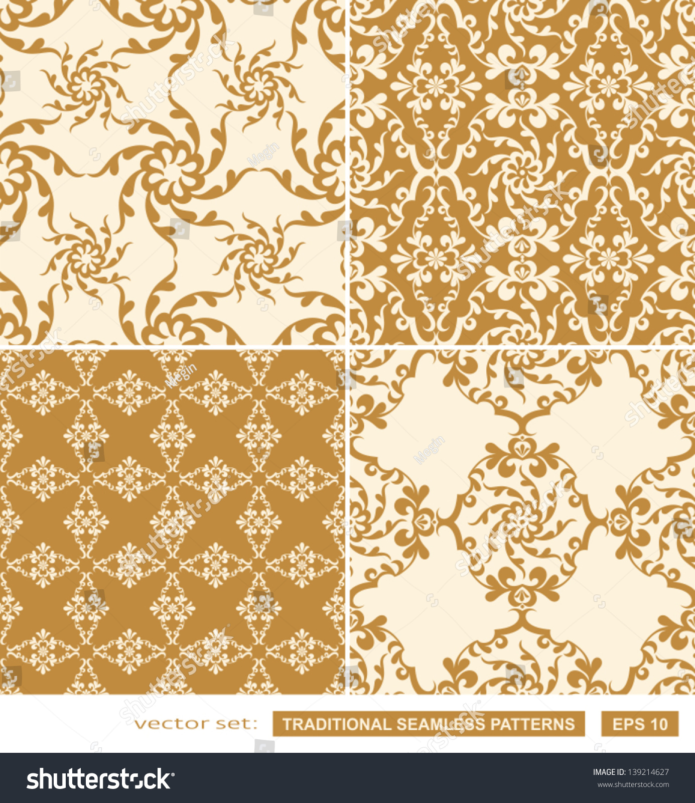 Vintage Backgrounds Classic Ornament Beautiful Seamless Patterns Vector Wallpapers Floral Fashion Fabrics