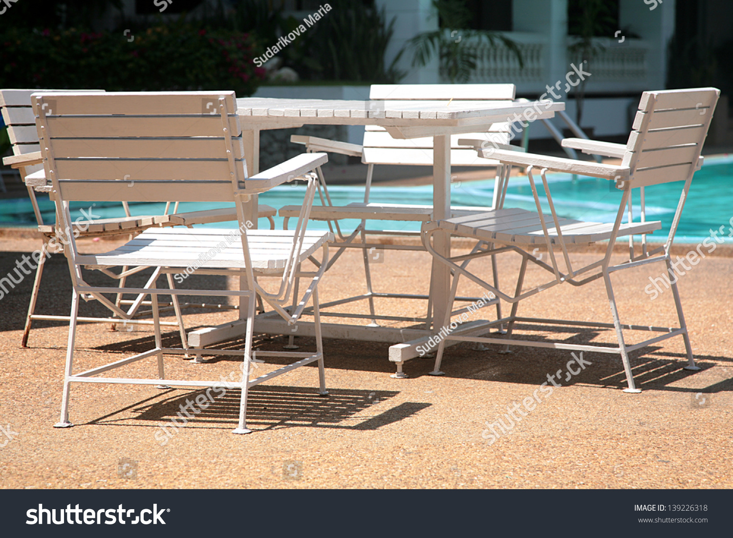White Beach Chairs And Table At The Pool Stock Shutterstock