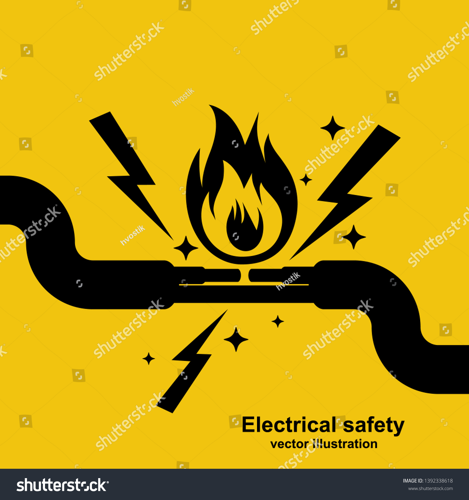 Black Icon Wire Burning Fire Wiring Stock Vector Royalty Free 1392338618