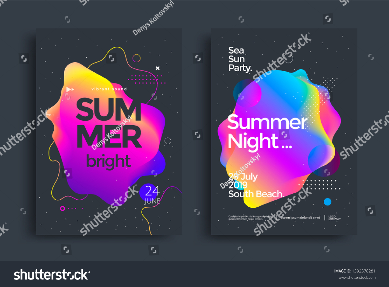 Summer bright party poster wiht colorful liquid form. Club night flyer. Abstract gradients fluid shapes backgrounds for cover, brochure.