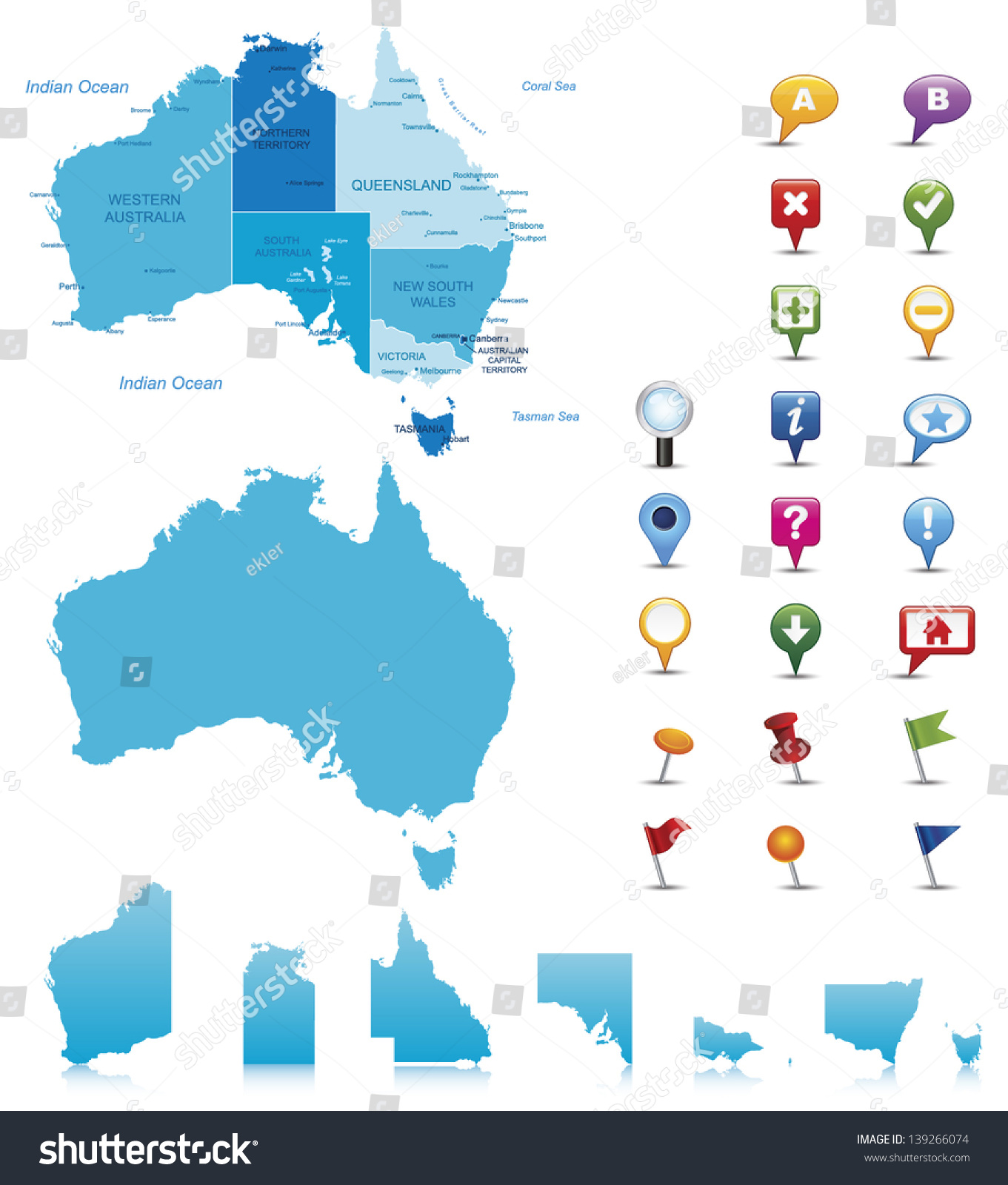 Detailed Map Australia.Australiahighly Detailed Map Elements Separated Editable Stock