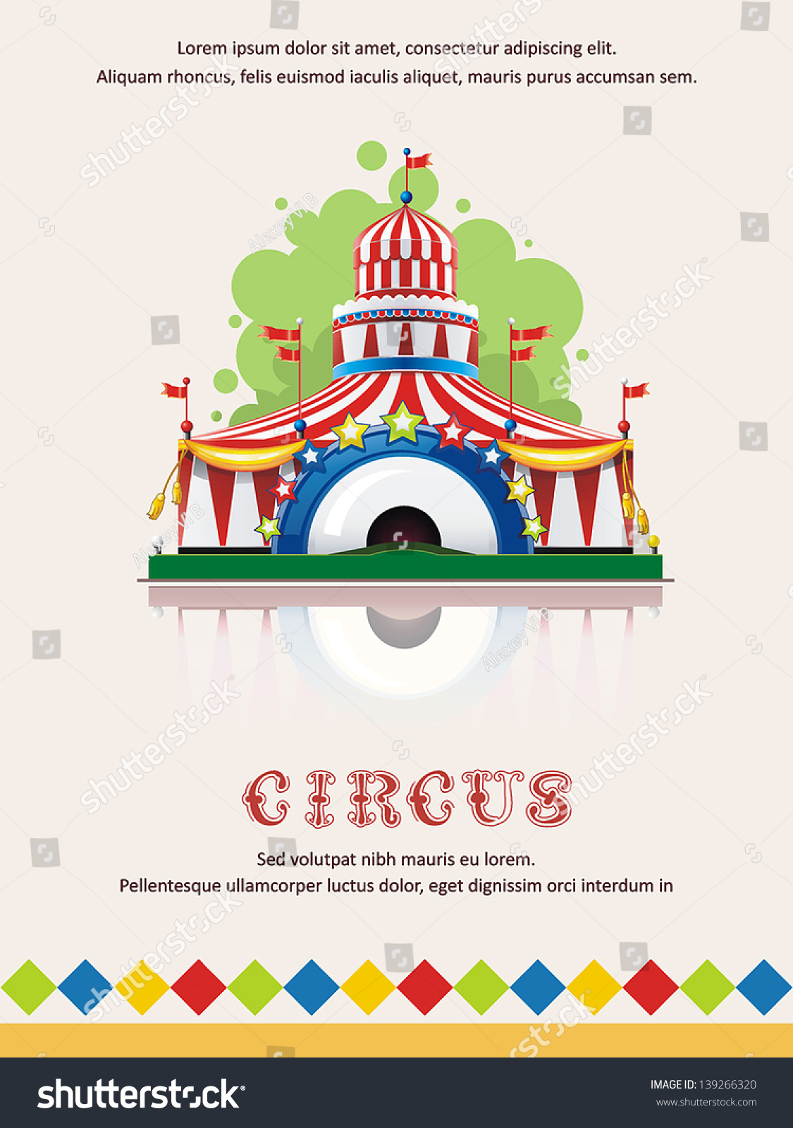 Circus tent frame with space for text decoration vector for A text decoration