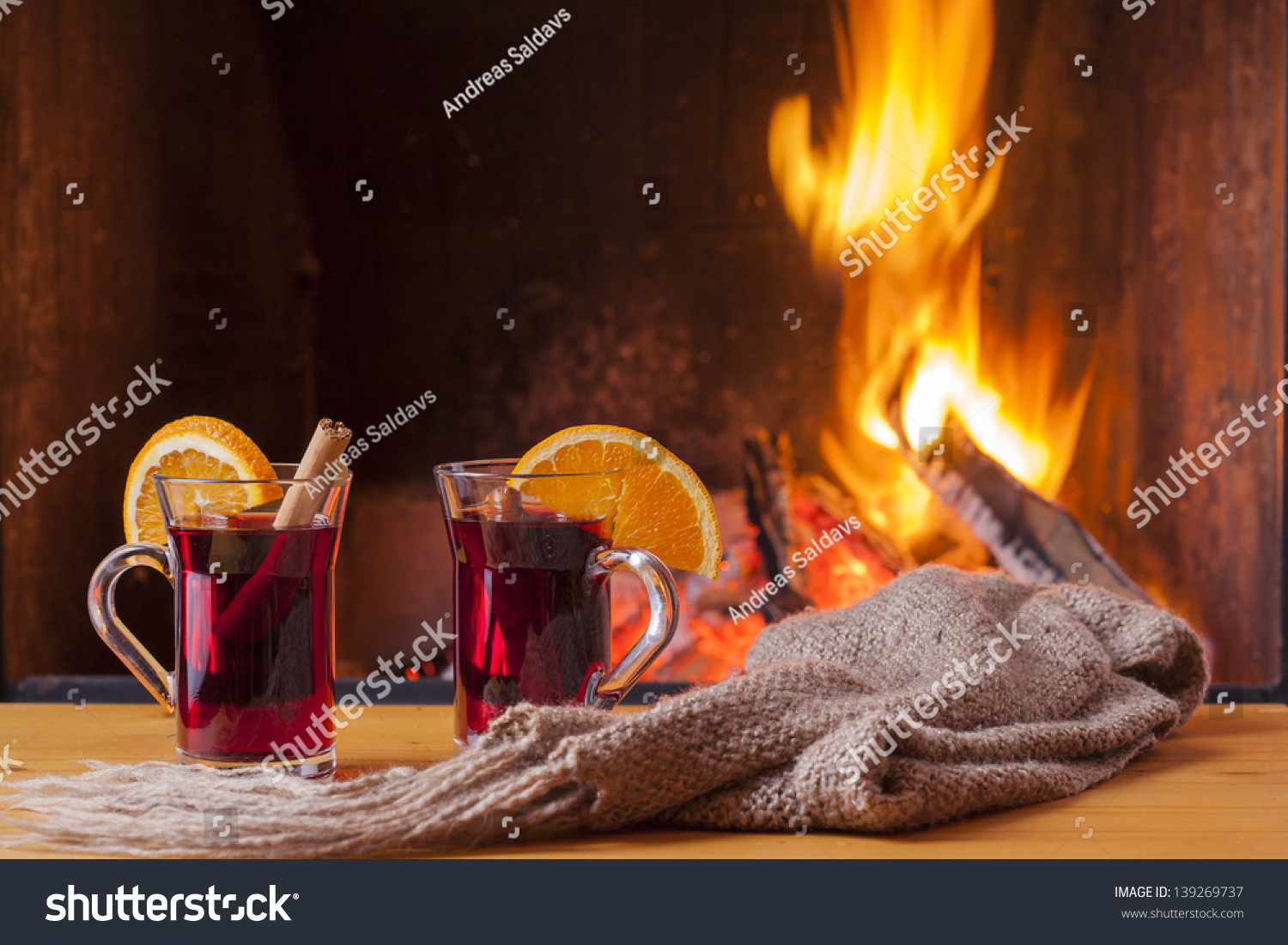 delicious mulled wine romantic fireplace stock photo 139269737
