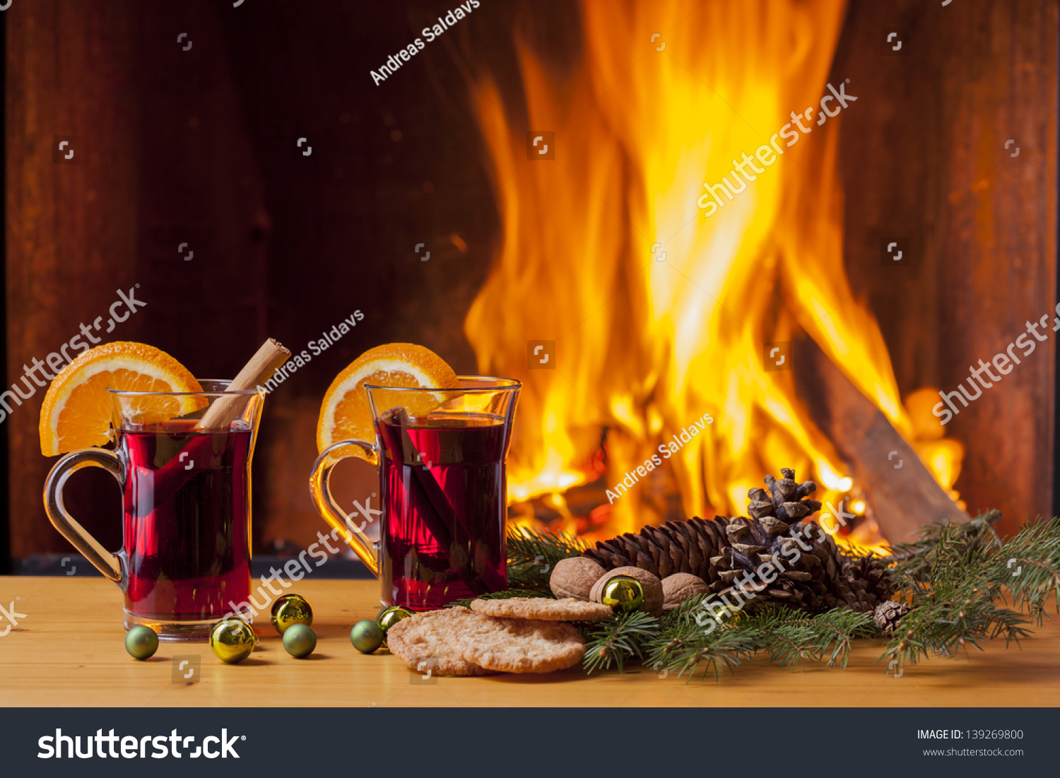 delicious mulled wine christmas decoration romantic stock photo
