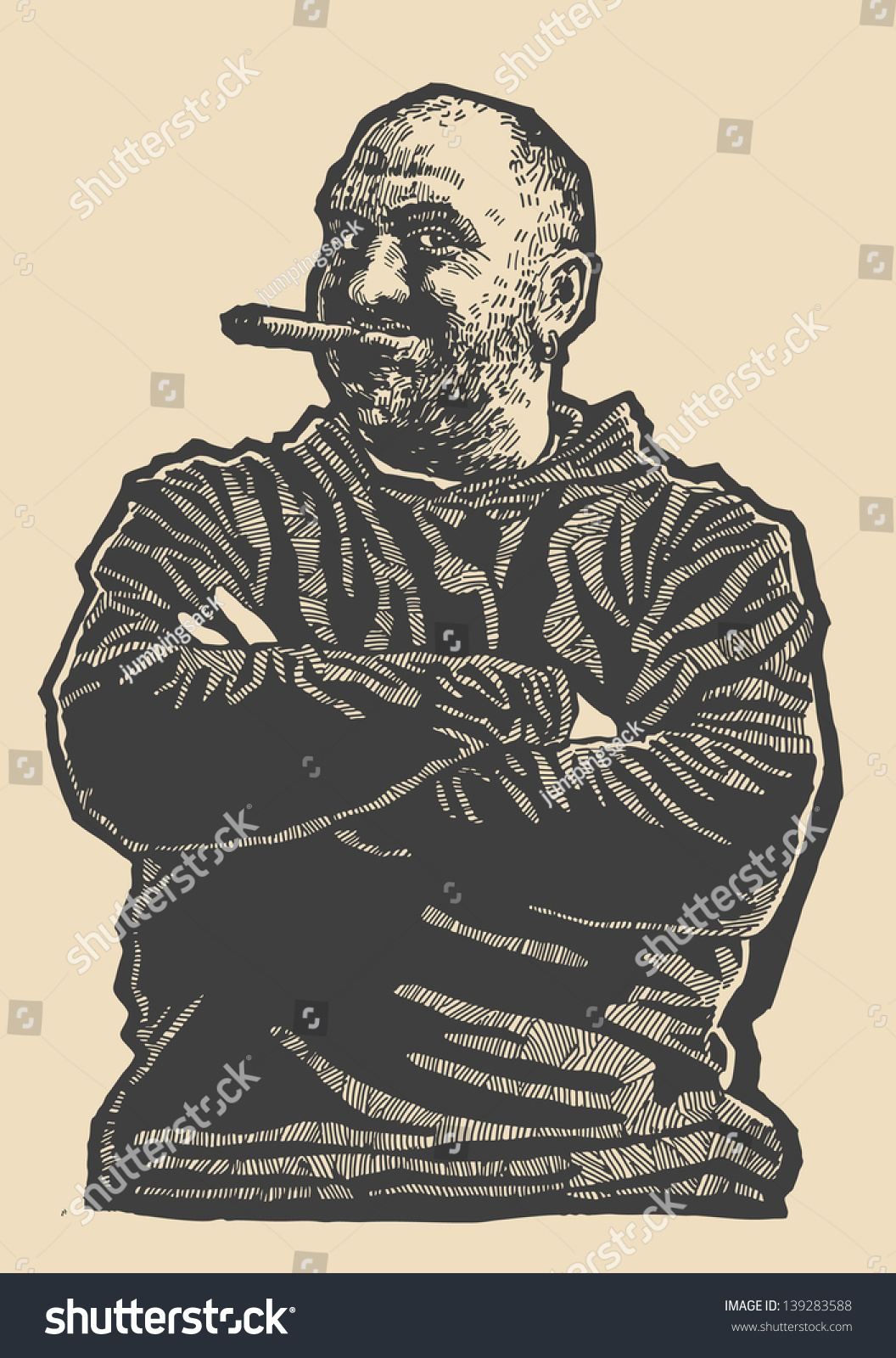 Lucky Dude. Happy Man Smiling With A Cigar In His Mouth. Engraving ...