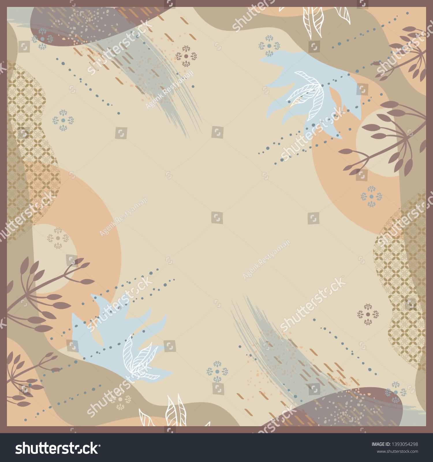 Scarf Pattern Flower Batik Element Hijab Stock Vector (Royalty