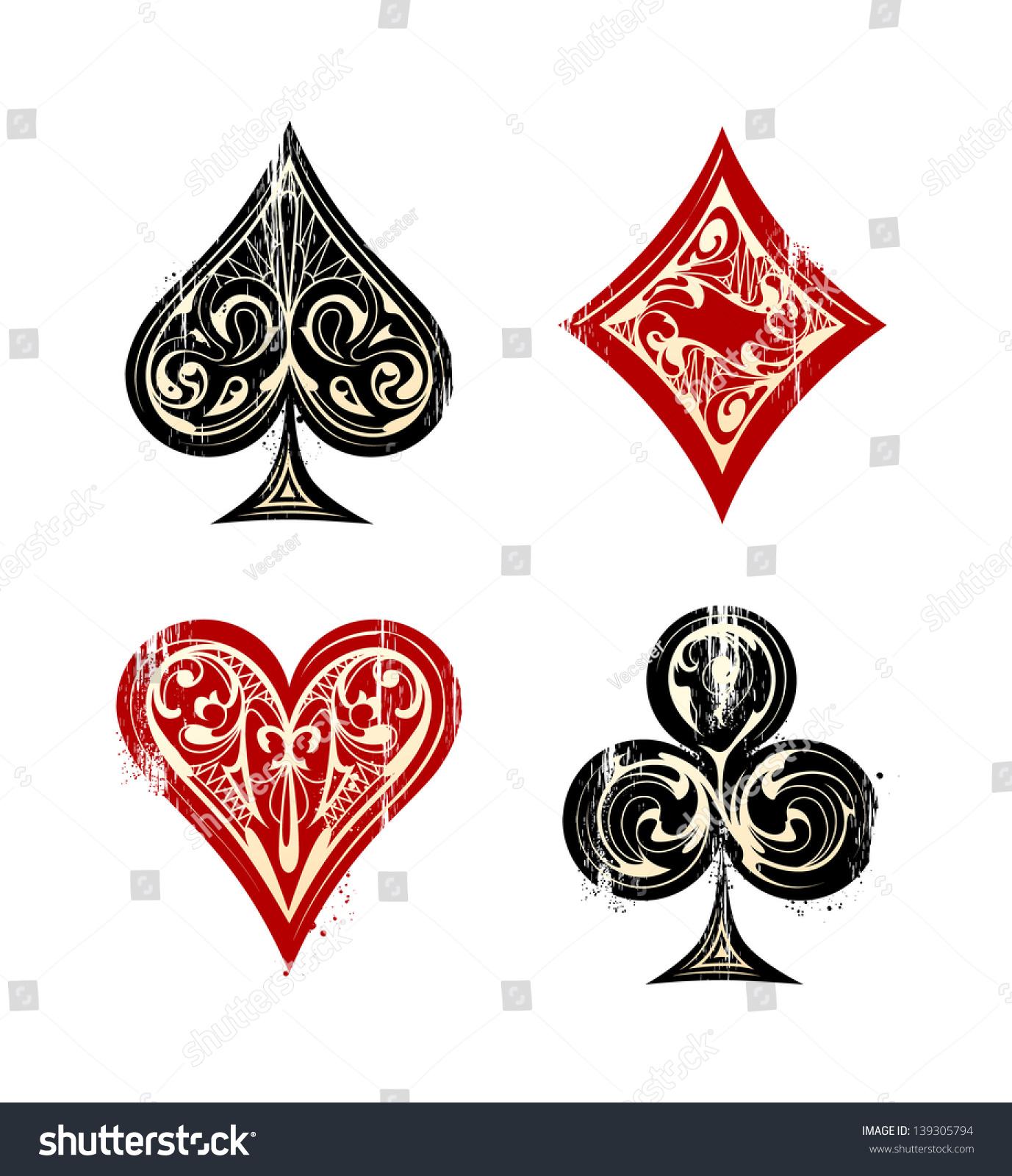 Vintage playing cards symbols set vector stock vector 139305794 vintage playing cards symbols set vector illustration biocorpaavc