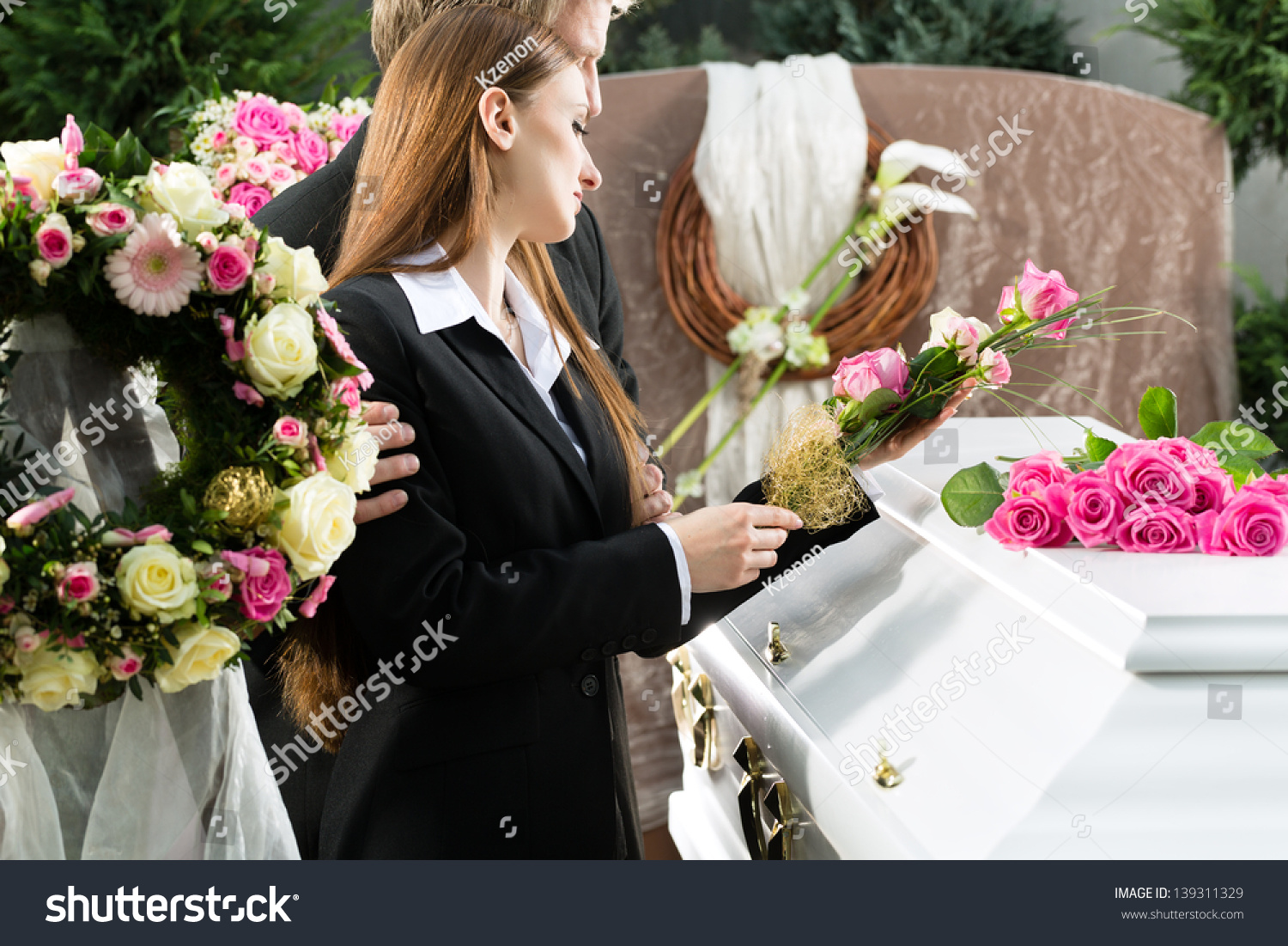 Mourning Man Woman On Funeral Pink Stock Photo Edit Now 139311329